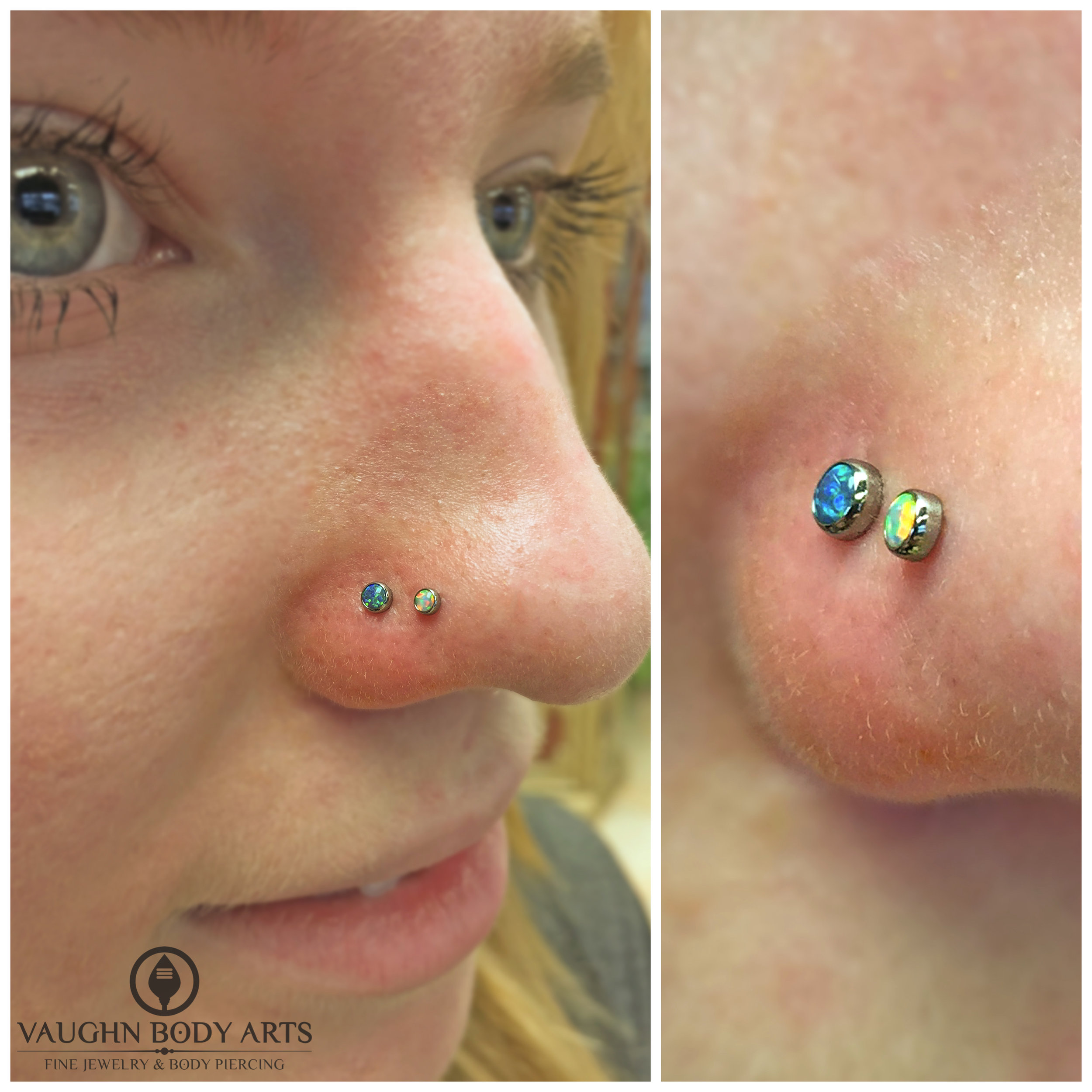 Double nostril piercings with titanium jewelry from NeoMetal.
