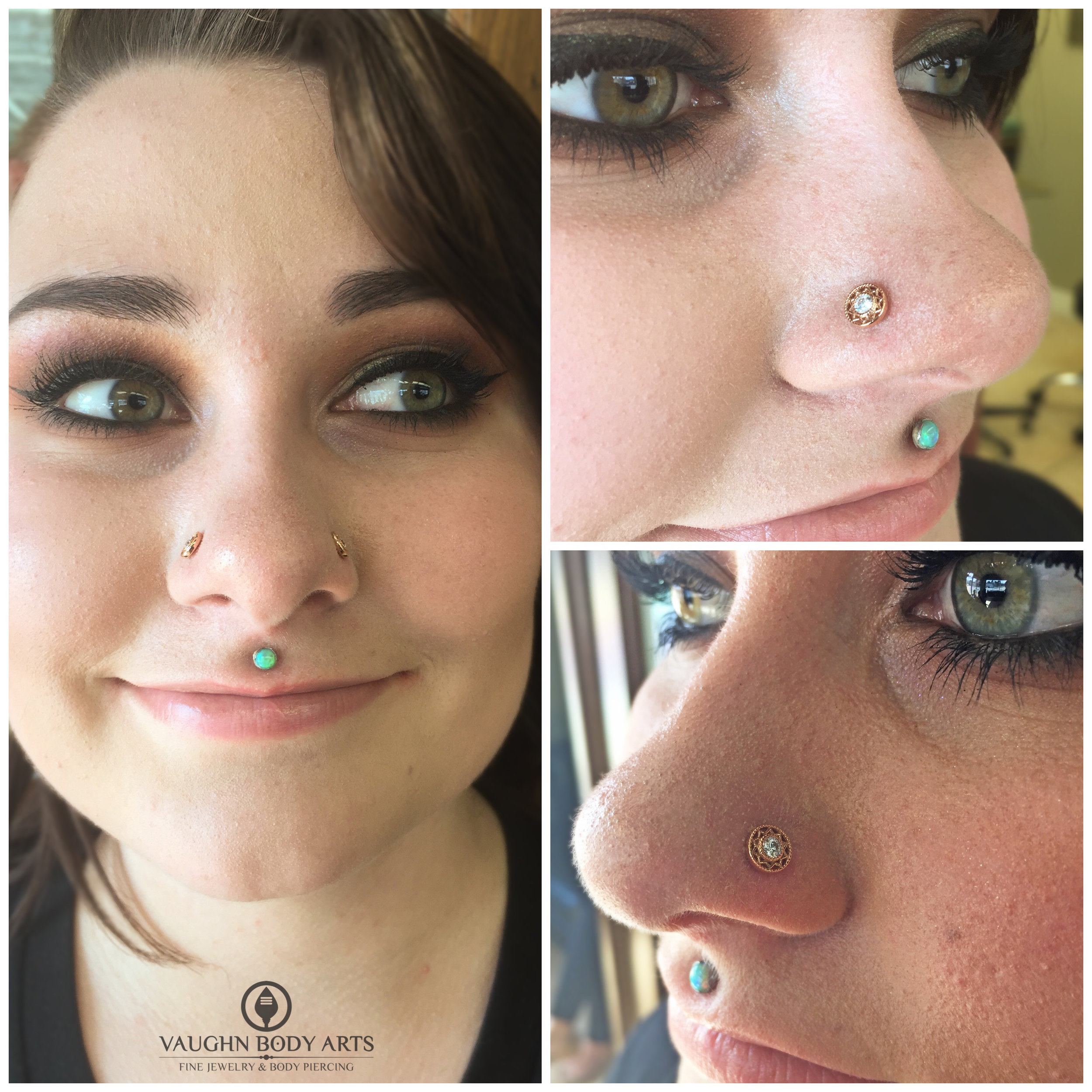 """Paired nostril piercings featuring 14k rose gold and cz """"Bandera"""" ends from BVLA."""