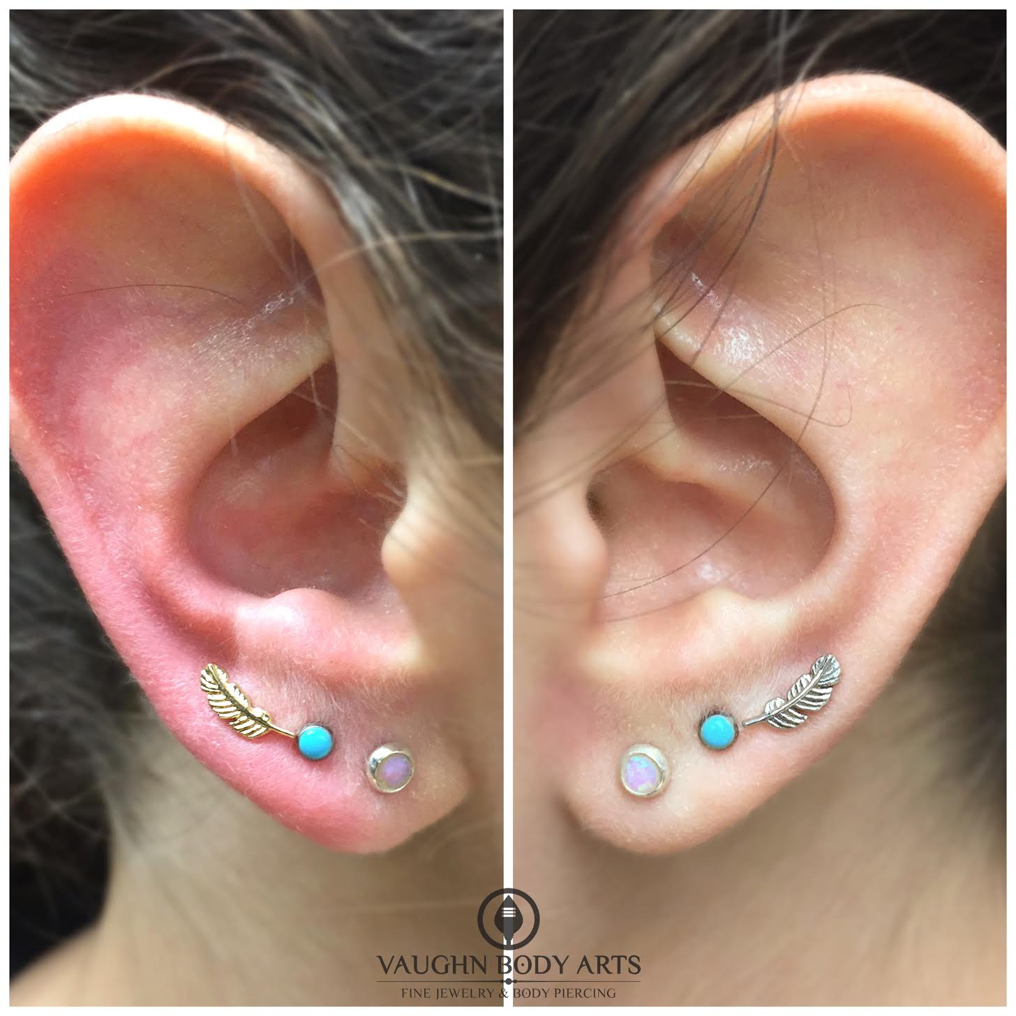 Earlobe piercings with 14k yellow and white gold feather ends from BVLA.