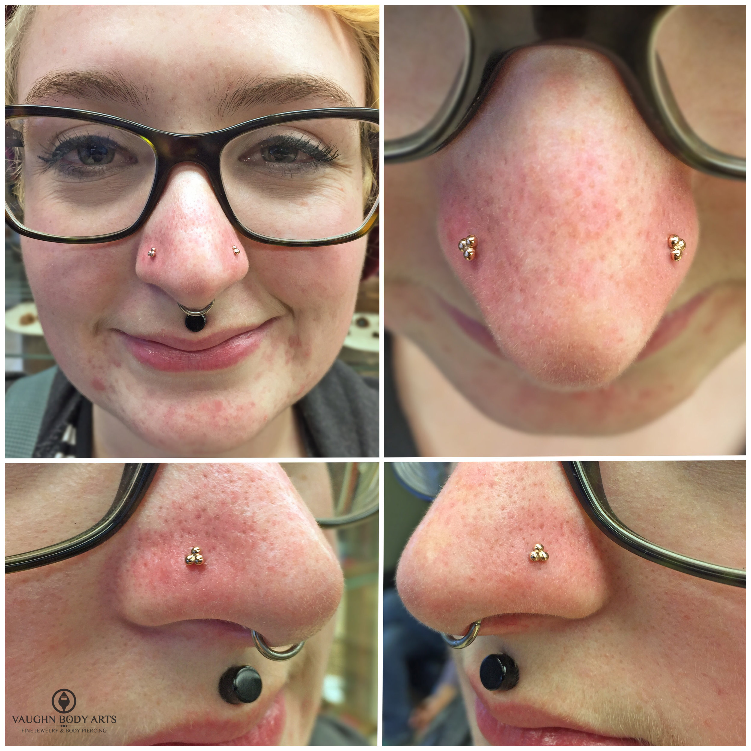Paired nostril piercings with 14k yellow gold beaded ends from BVLA.