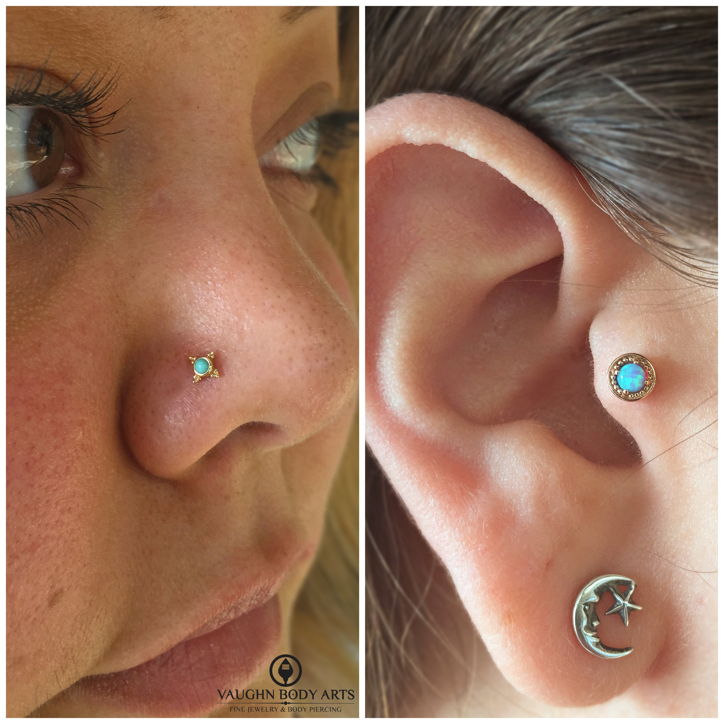 """Nostril piercing featuring a 14k yellow gold and turquoise """"Mini Kandy"""" end. Tragus piercing not done by us, but we did install this 14k yellow gold and genuine opal """"Millgrain Prong"""" end. Jewelry from BVLA."""
