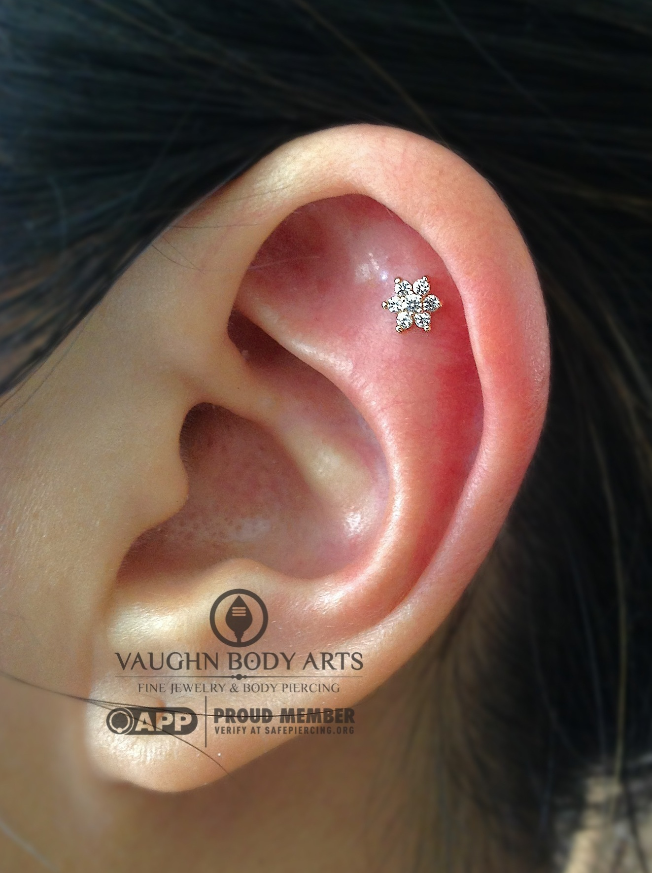 Helix piercing with a 14k yellow gold flower from NeoMetal.