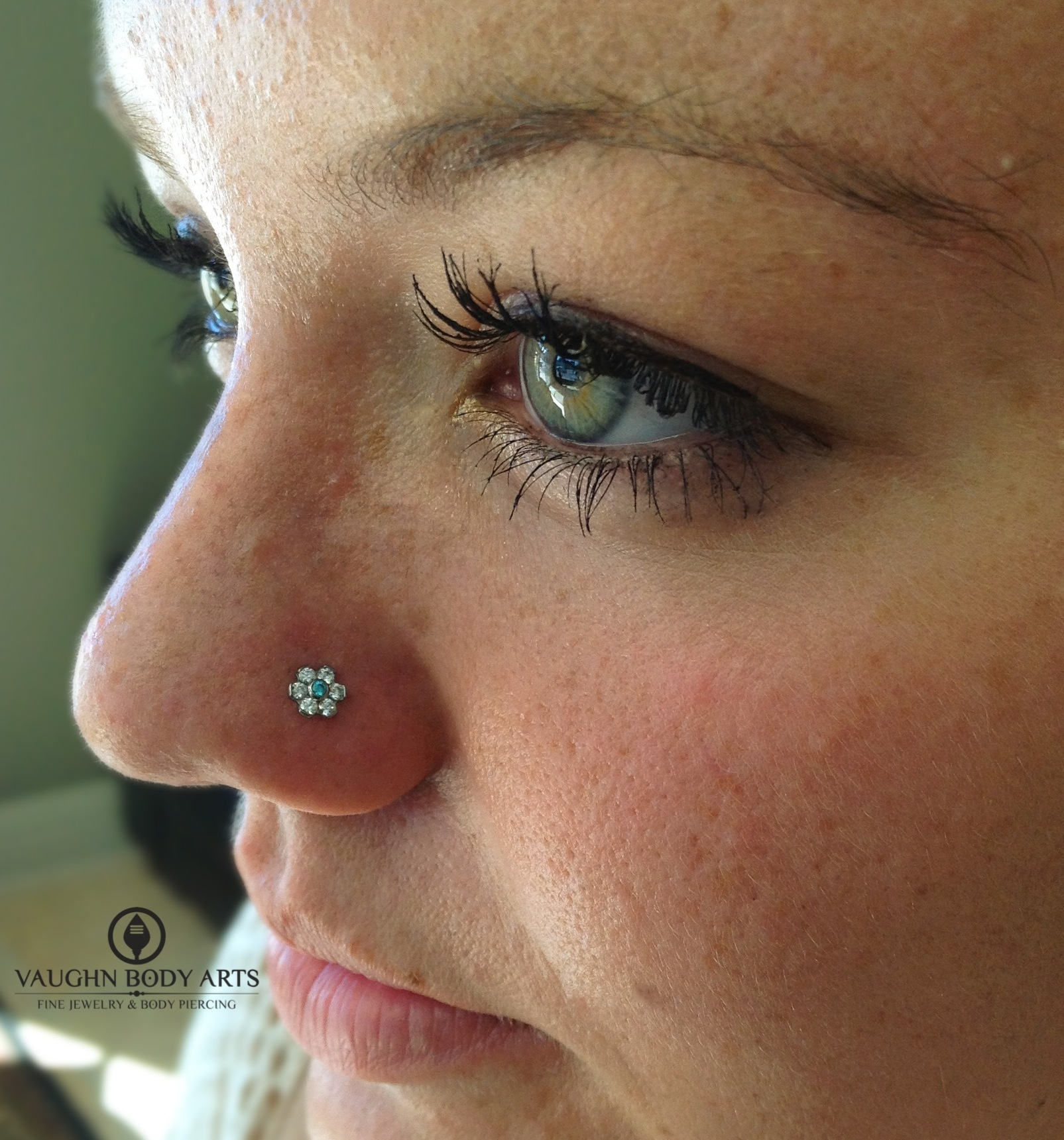 Nostril piercing with titanium jewelry from Industrial Strength.