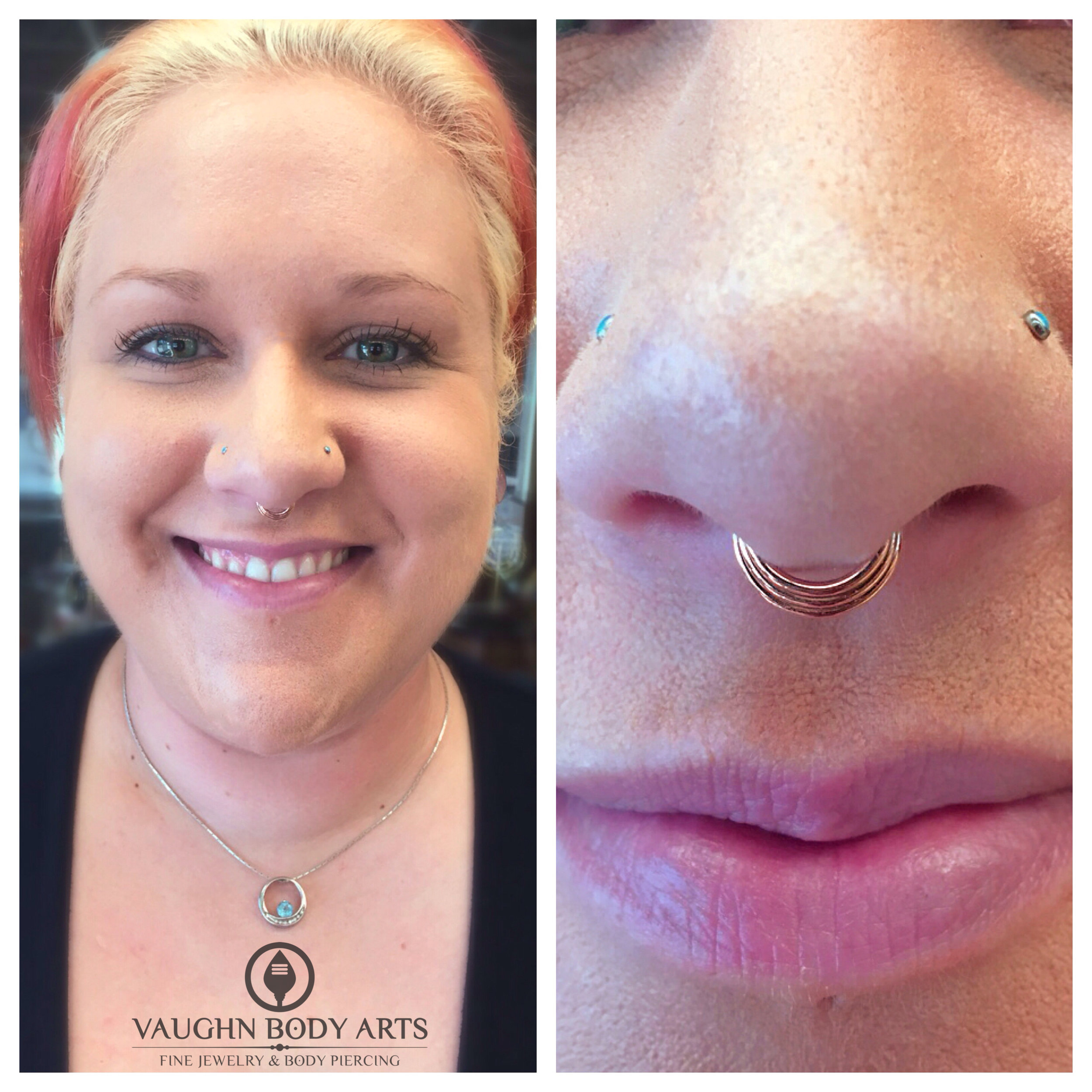 """Septum piercing featuring a 14k rose gold """"Mini Moody"""" hinged ring from BVLA."""