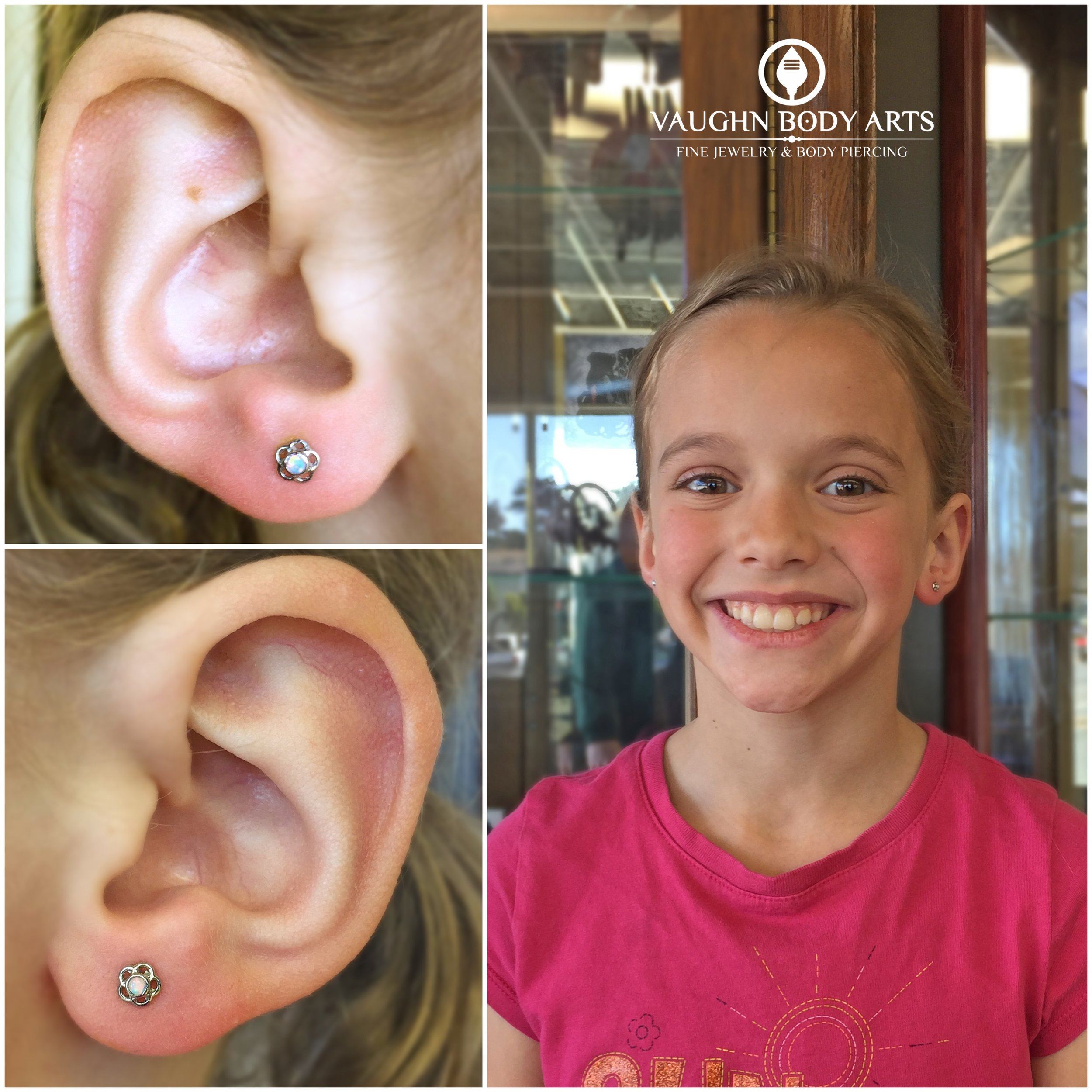 """Earlobe piercings with 18k white gold and opal """"Tama"""" ends from Anatometal."""