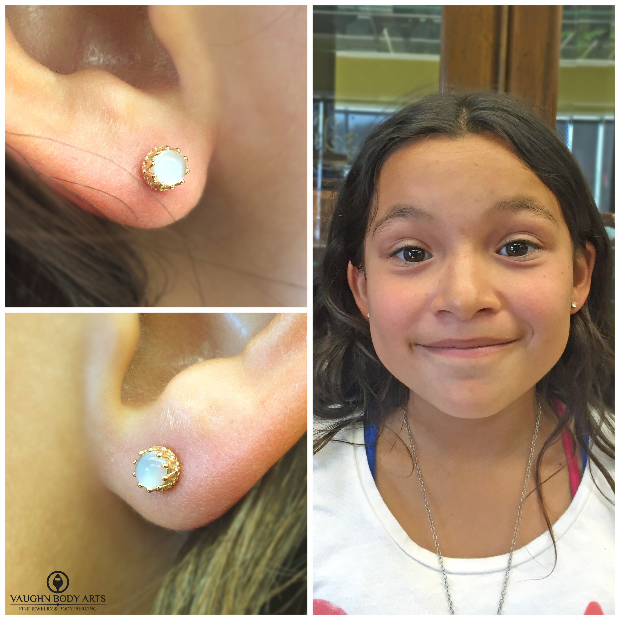 """Earlobe piercings featuring 18k yellow gold """"King"""" ends with genuine moonstone fro Anatometal."""