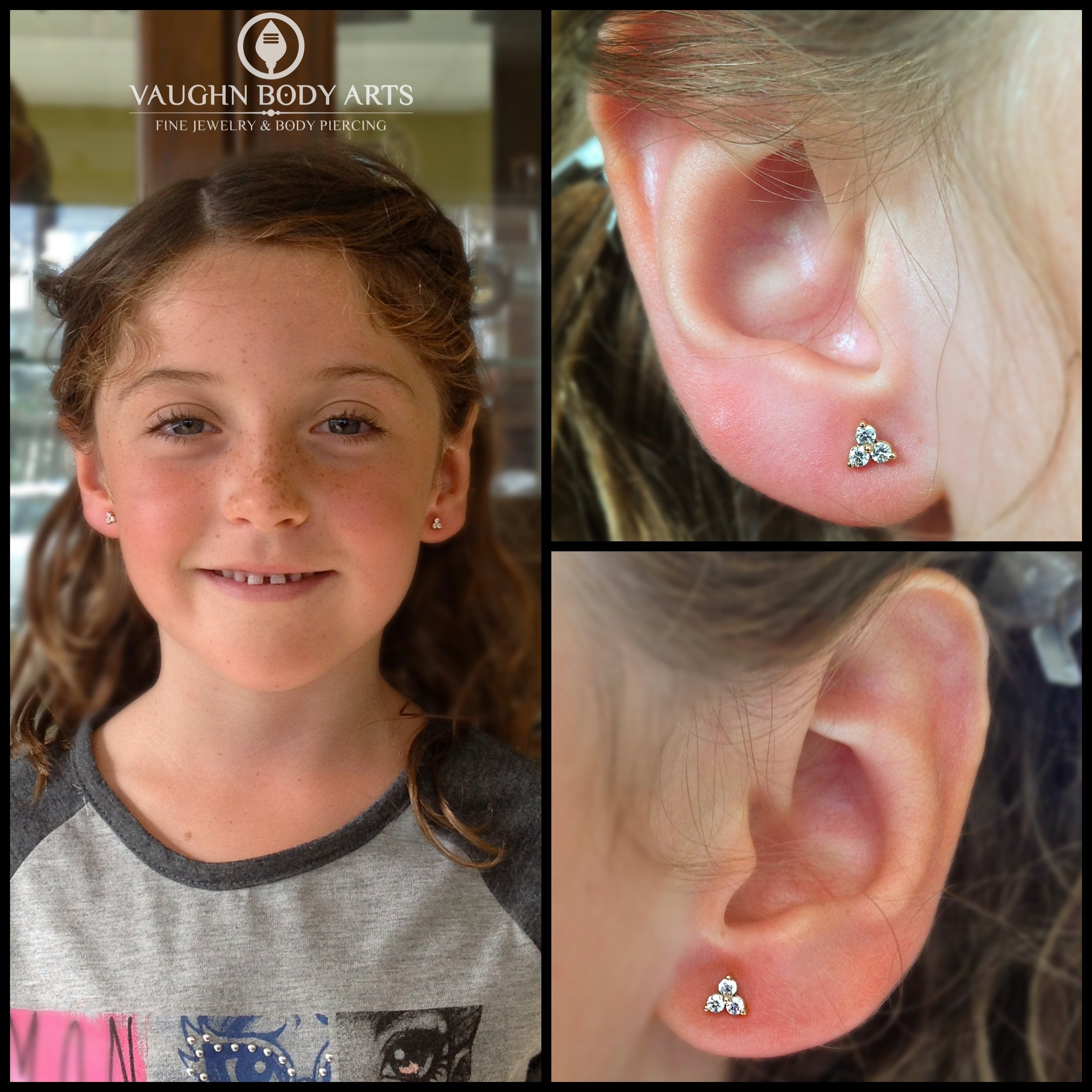 """Earlobe piercings with 14k yellow gold """"Trinity"""" ends from NeoMetal."""