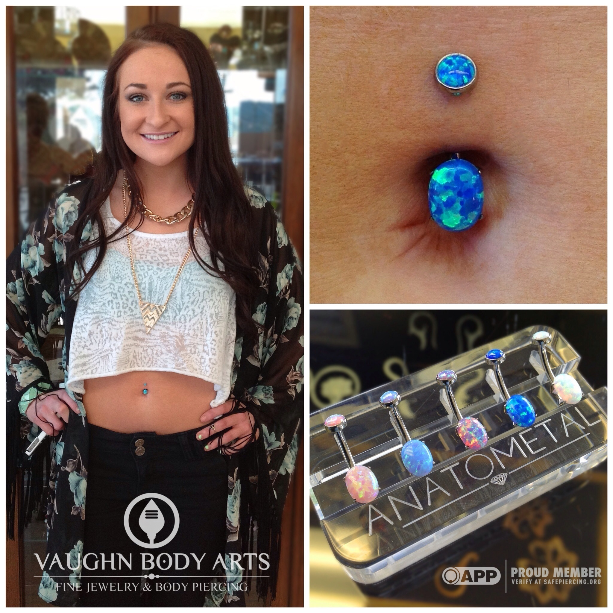 Navel piercing with titanium jewelry from Anatometal.