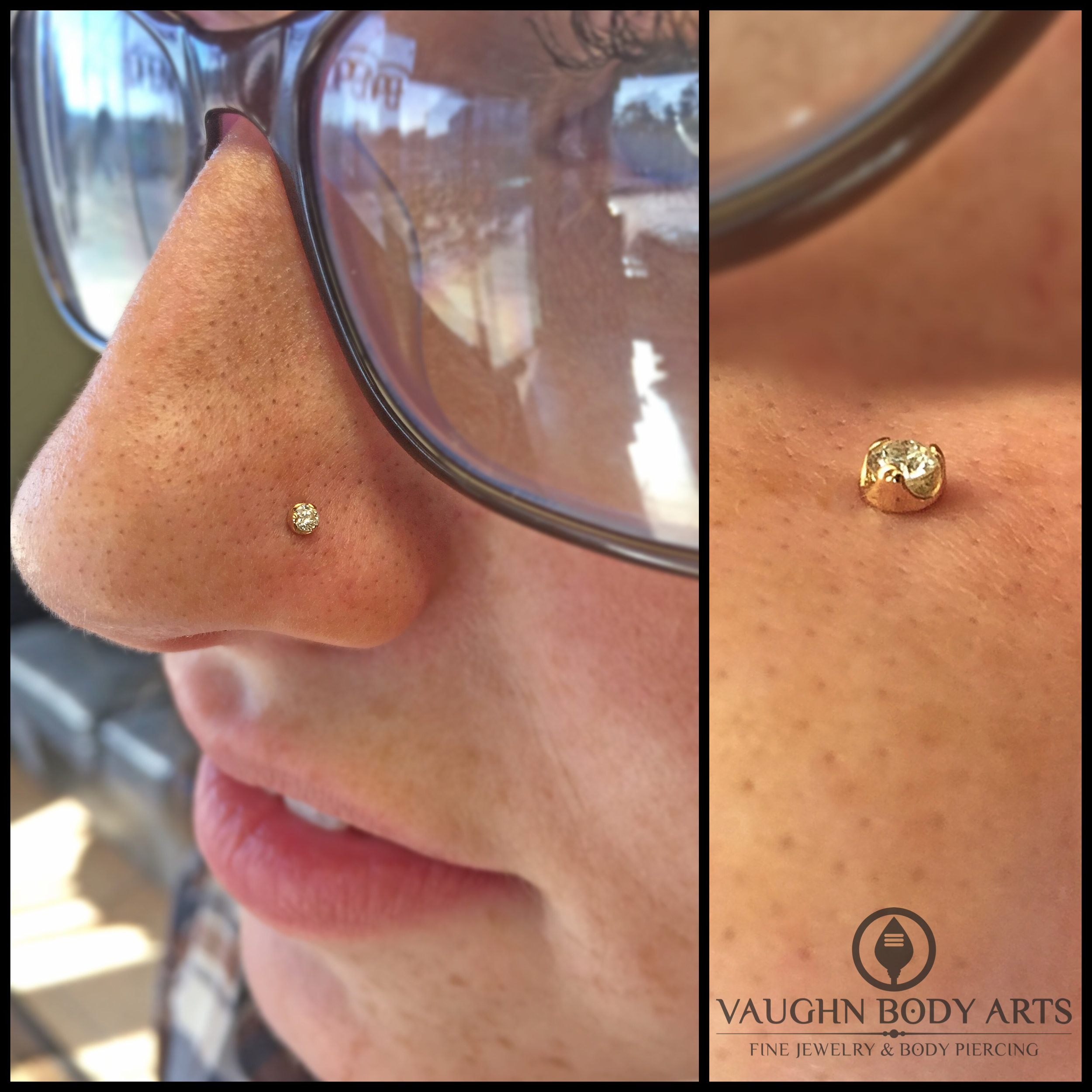 Nostril piercing featuring 18k yellow gold and genuine diamond jewelry from Anatometal.