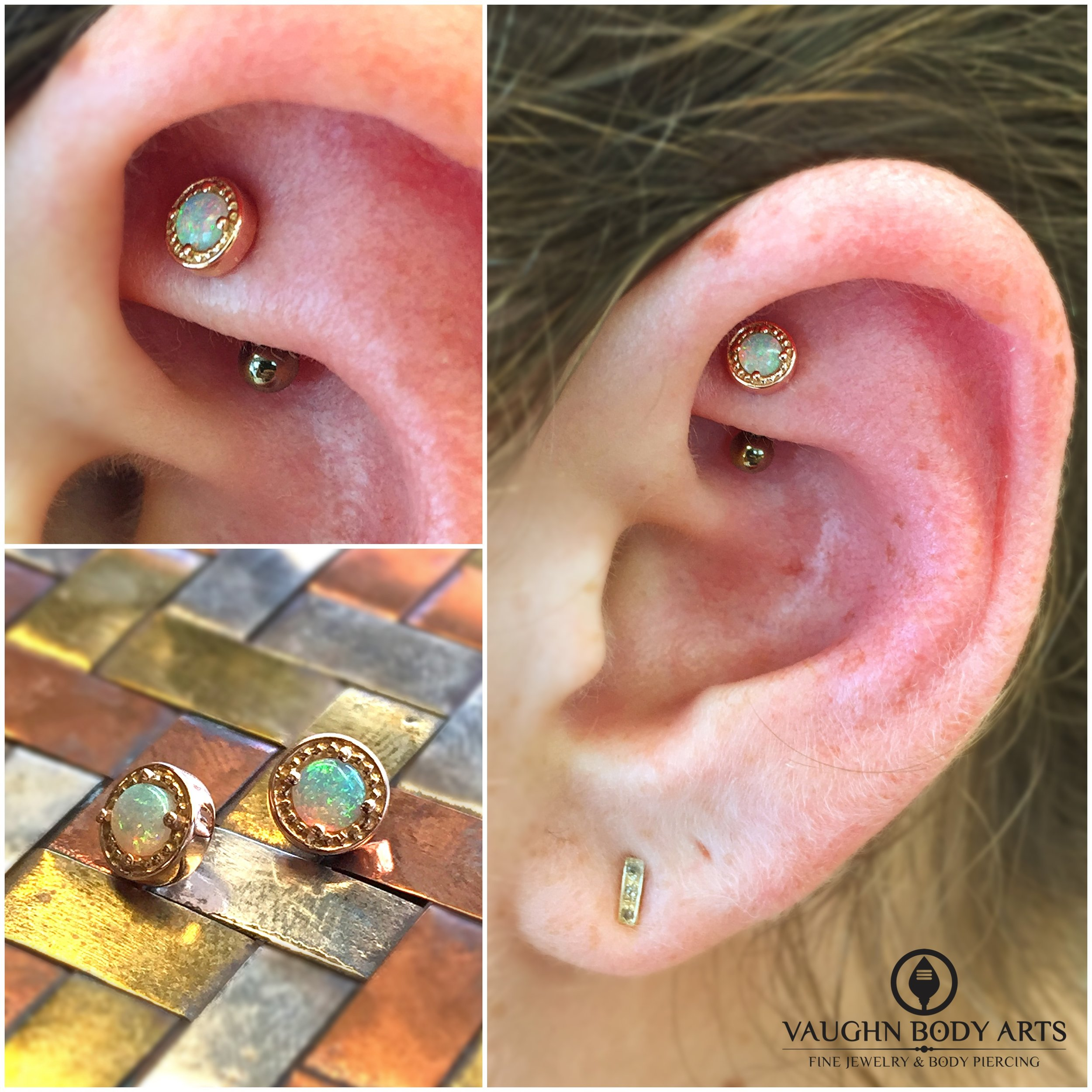 """Rook piercing featuring a 14k rose gold and genuine opal """"Millgrain Bezel"""" end from BVLA."""