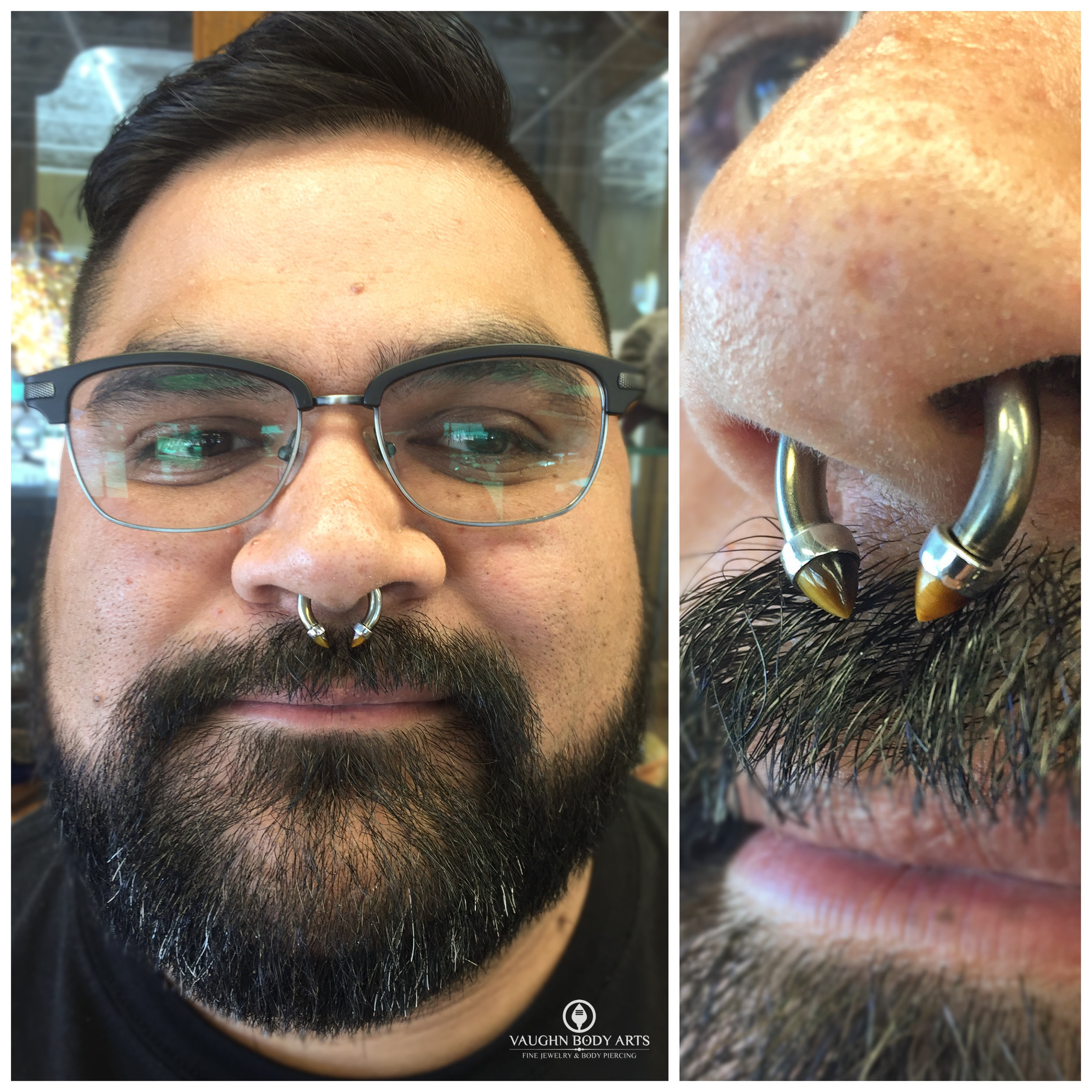 Septum piercing with titanium, steel and tiger's eye jewelry from Anatometal.