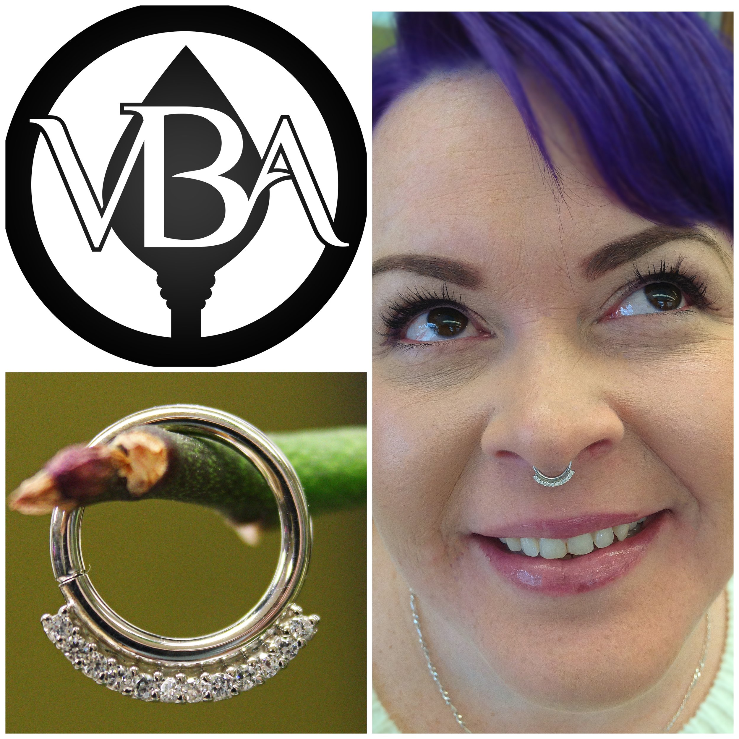 """Septum piercing featuring a 14k white gold and cz """"Dahlia"""" continuous ring from BVLA."""