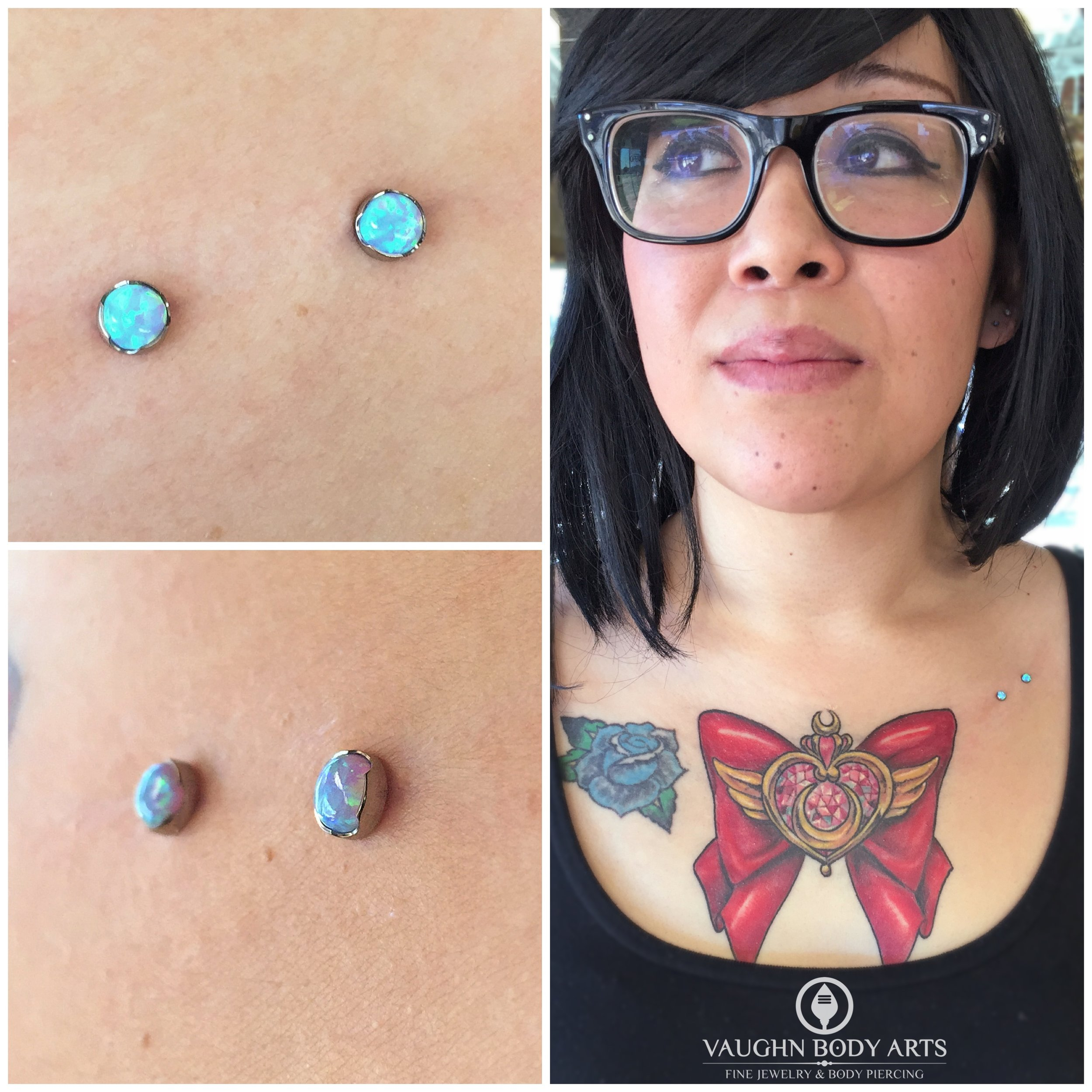 Surface piercing with titanium jewelry from Anatometal.