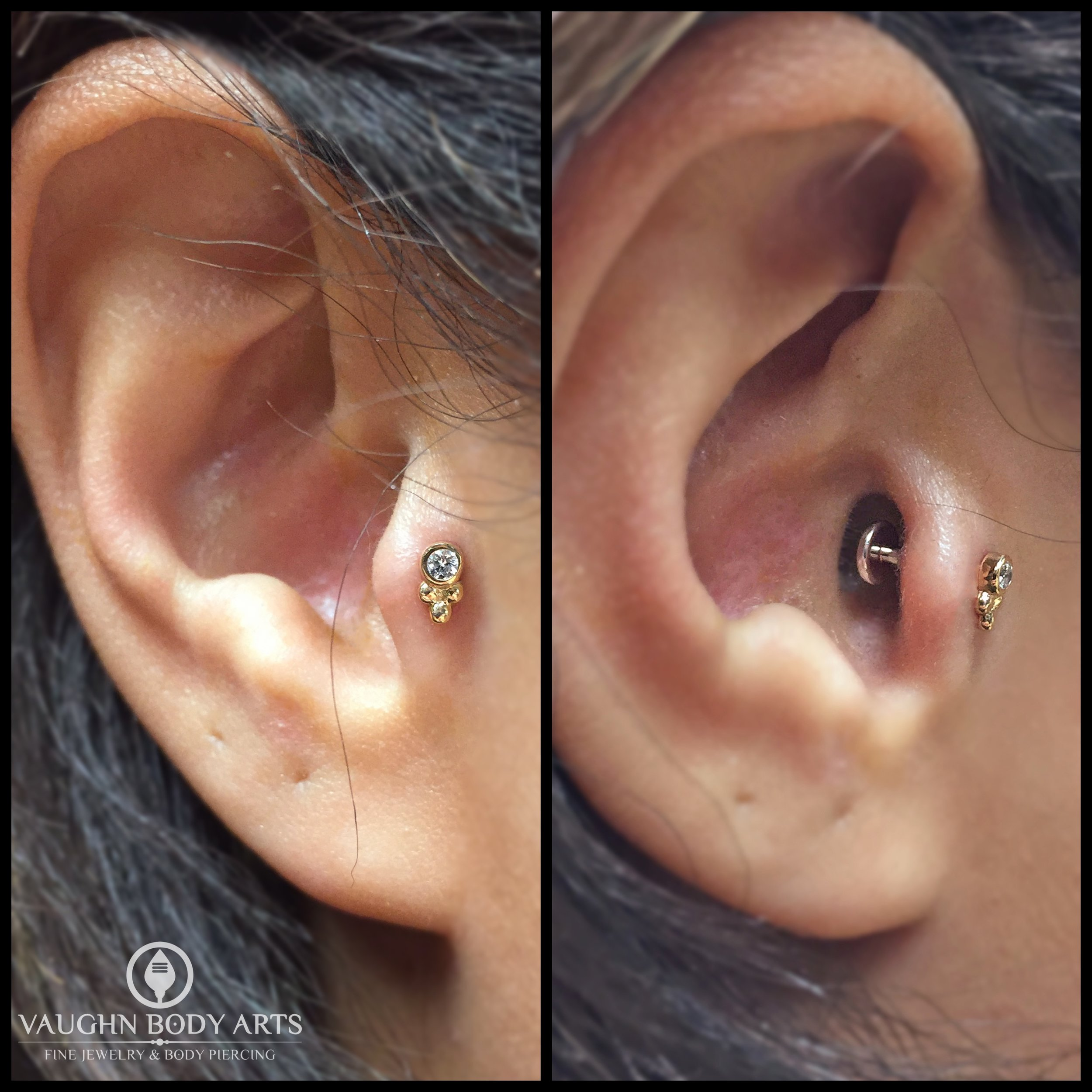 """Tragus piercing with an 18k yellow gold and cz """"Sabrina"""" end fro Anatometal."""