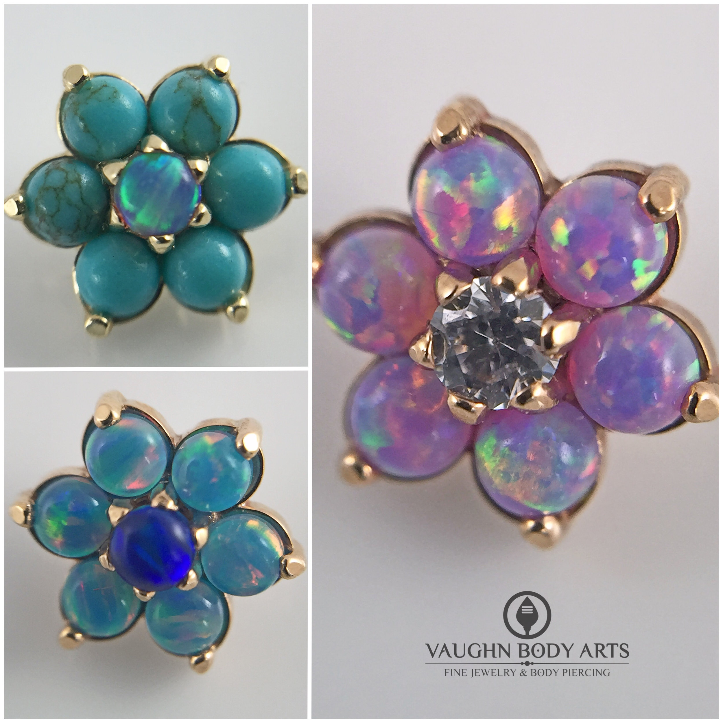 Selection of 18k rose and yellow gold flower ends from Anatometal.