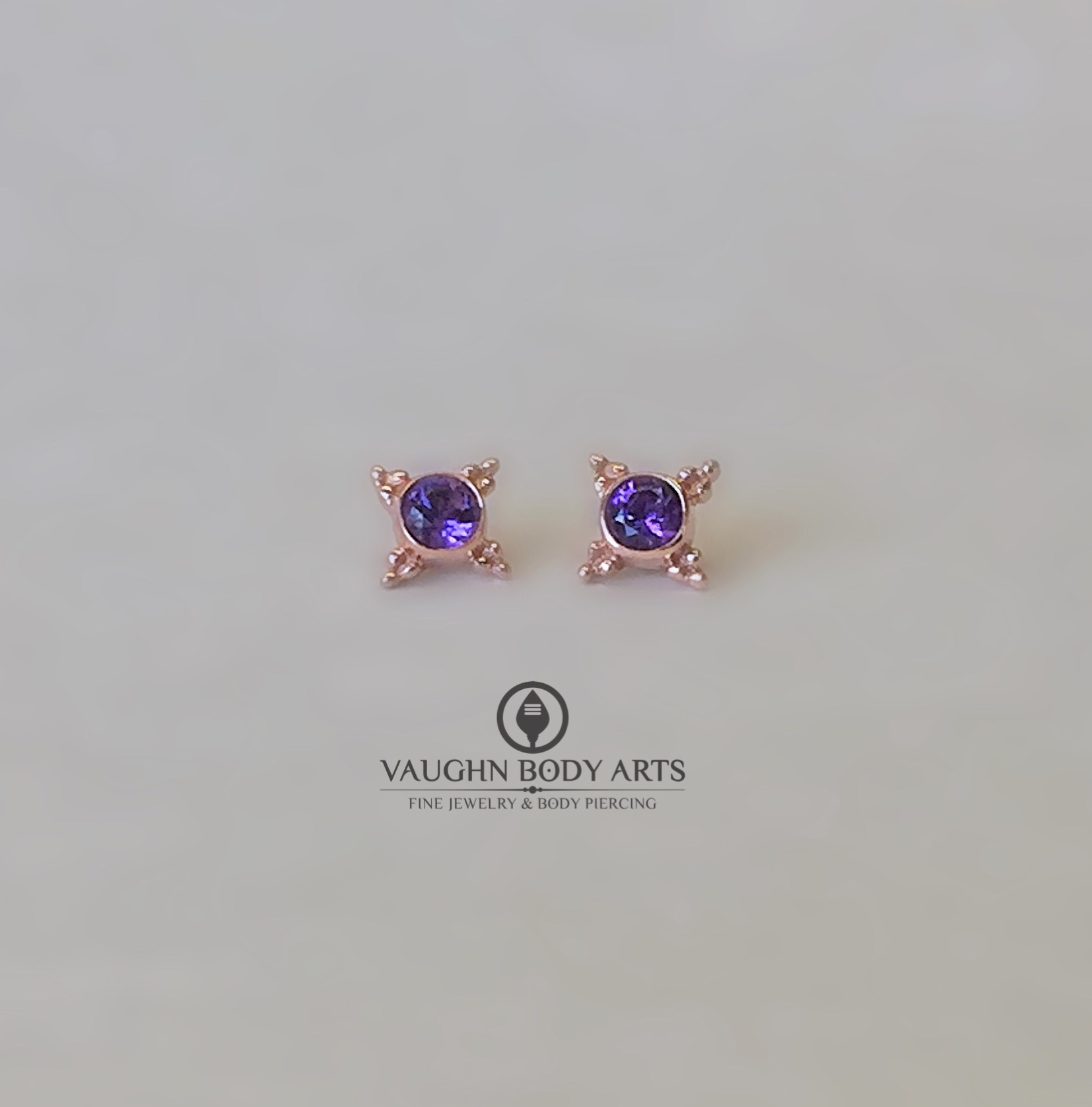 "14k rose gold ""Mini Kandy"" ends featuring genuine amethyst."