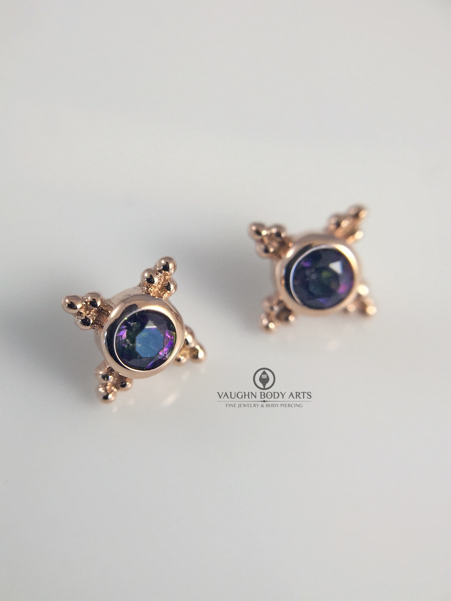 "14k rose gold ""Mini Kandy"" ends from BVLA featuring mystic topaz."