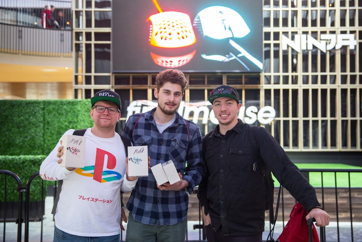 From left to right: Evan Prunty, Alec Miller and Hunter Prunty at the Finalmouse event in Los Angeles.