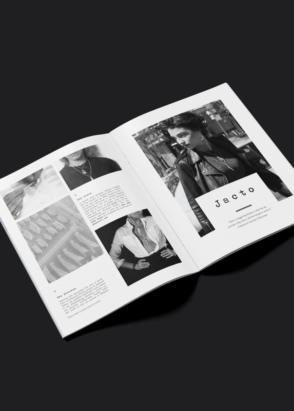 Informative pamphlet created for Jacto, a sustainable jewelry label based in Brooklyn, NY.