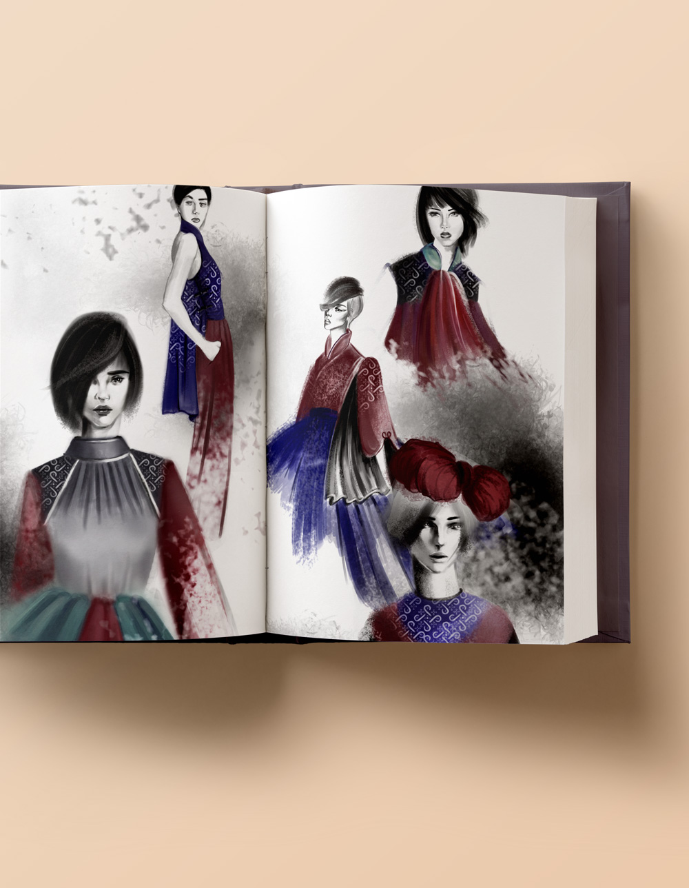 Fashion illustrations completed as part of coursework at Parsons School of Design.