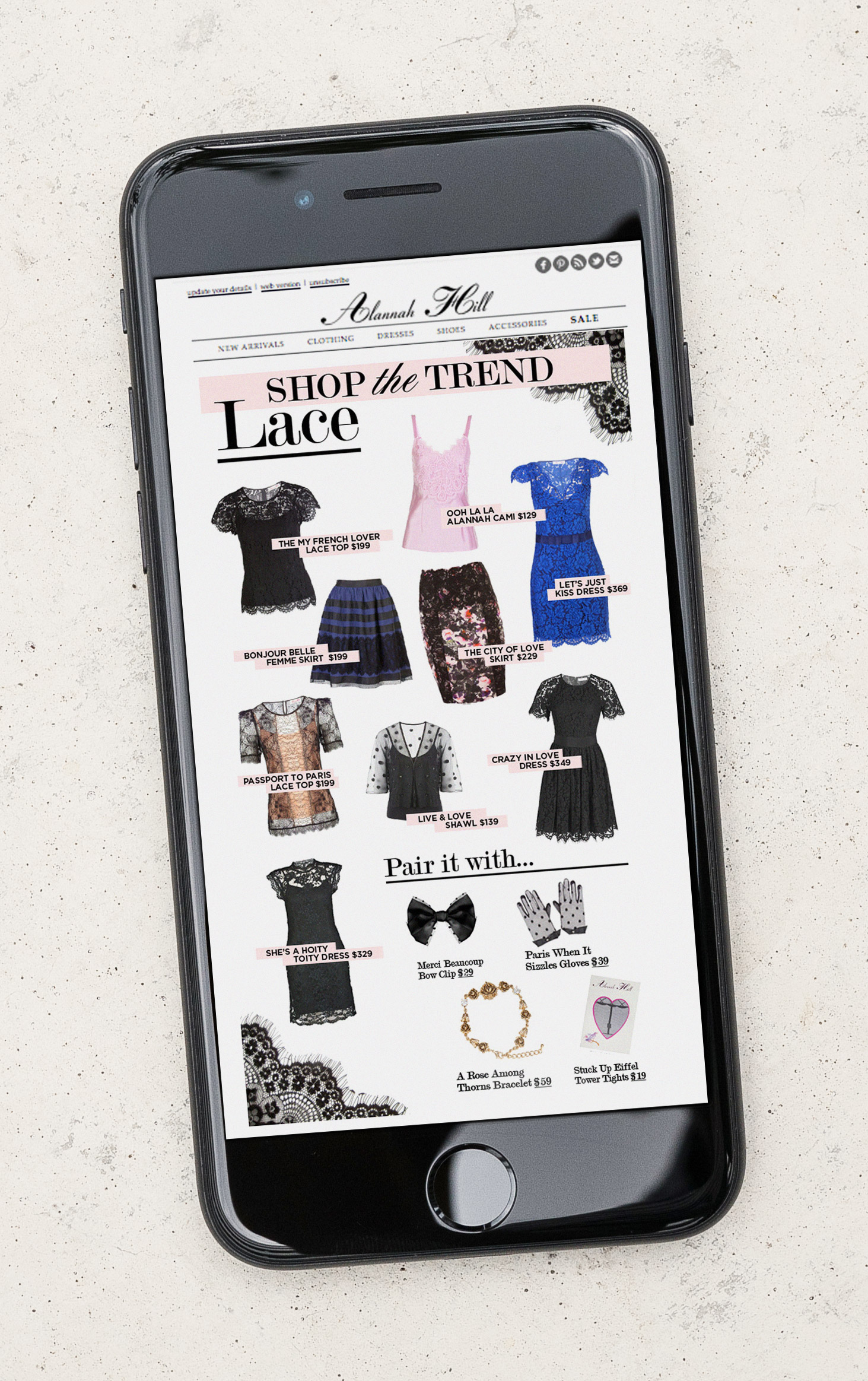 E-mail design for Alannah Hill, a famous luxury fashion brand from Melbourne, Australia.