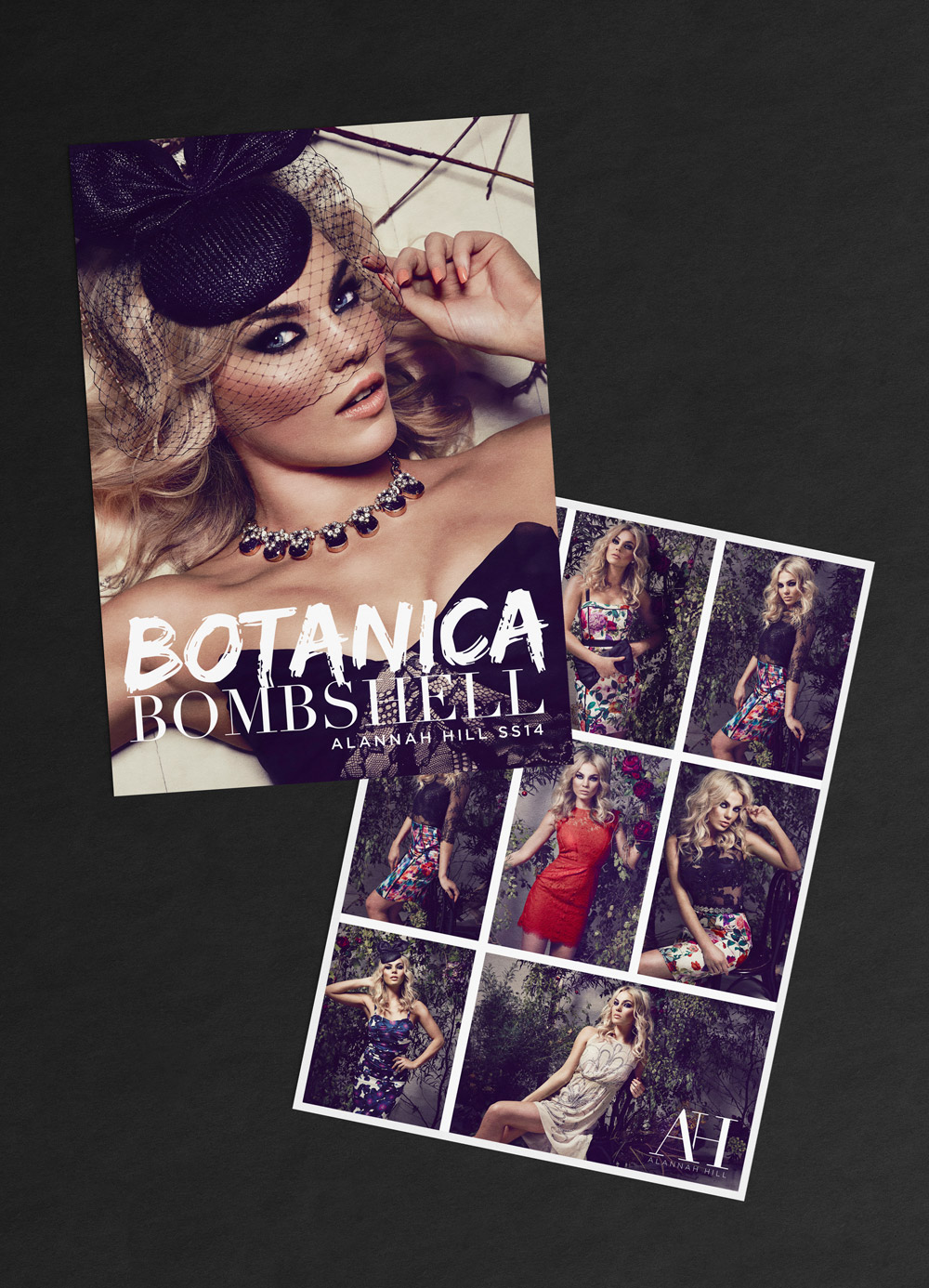 """Botanica Bombshell"" promotional card for Alannah Hill, a famous luxury fashion brand from Melbourne, Australia."