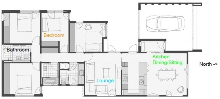 The floor plan of Jenny's home showing the location of the data loggers used to generate the graph below.