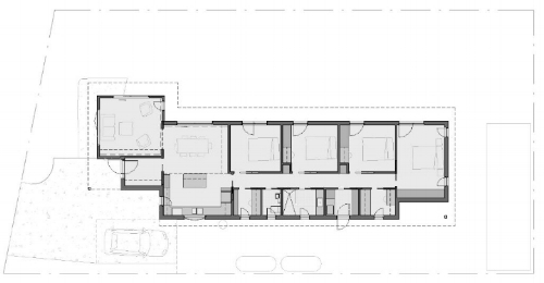 Floor plan of Case Study 1 House. Long axis east-west. North to the side (upwards).