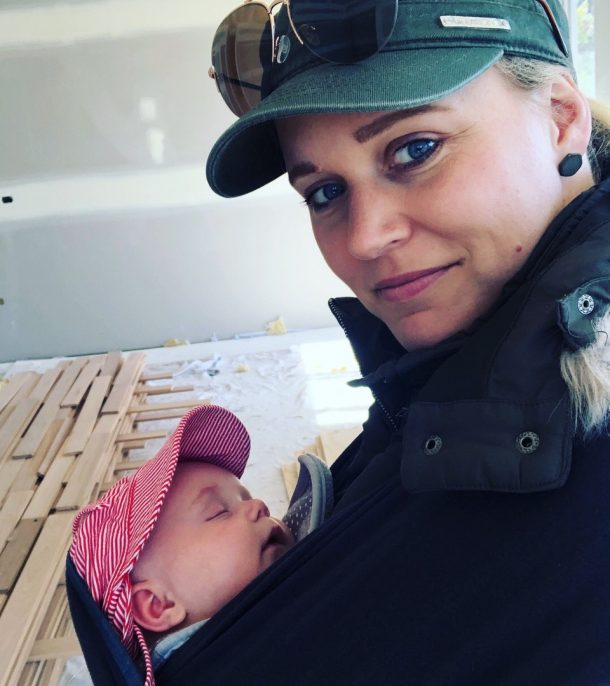 Sarah and three month old Lachie on a site visit.