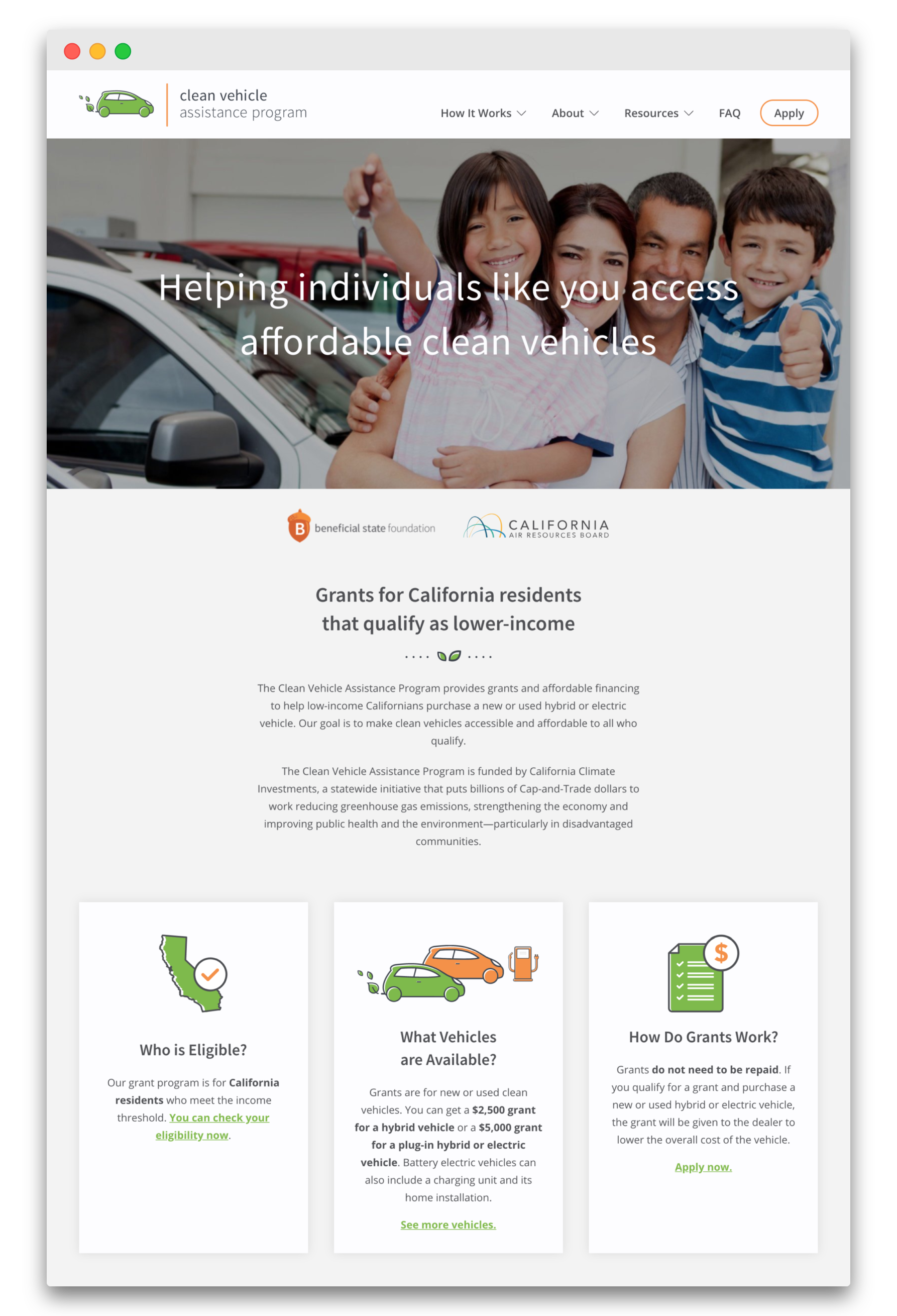 Clean Vehicle Assistance Website and Content Strategy