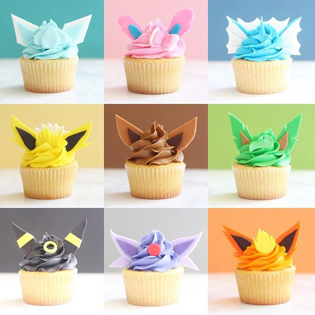 Which Eeveelution is your favorite? 🤔💕 . . I've been playing a ton of Pokémon Go recently and to celebrate the #pokemongocommunityday event going on this weekend, I made some Eeveelution cupcakes! I can't wait to go out and catch some more Eevees tomorrow! 😊