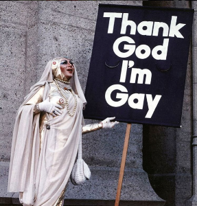 Follow  @lgbt_history  on instagram. They are in no way affiliated with this podcast, but they do an excellent job sharing photos from our history and preserving queer past.  Pictured above:  Sister Sadie Sadie The Rabbi Lady greets churchgoers, San Francisco, California, June 1983. Photo by Jean-Baptiste Carhaix.
