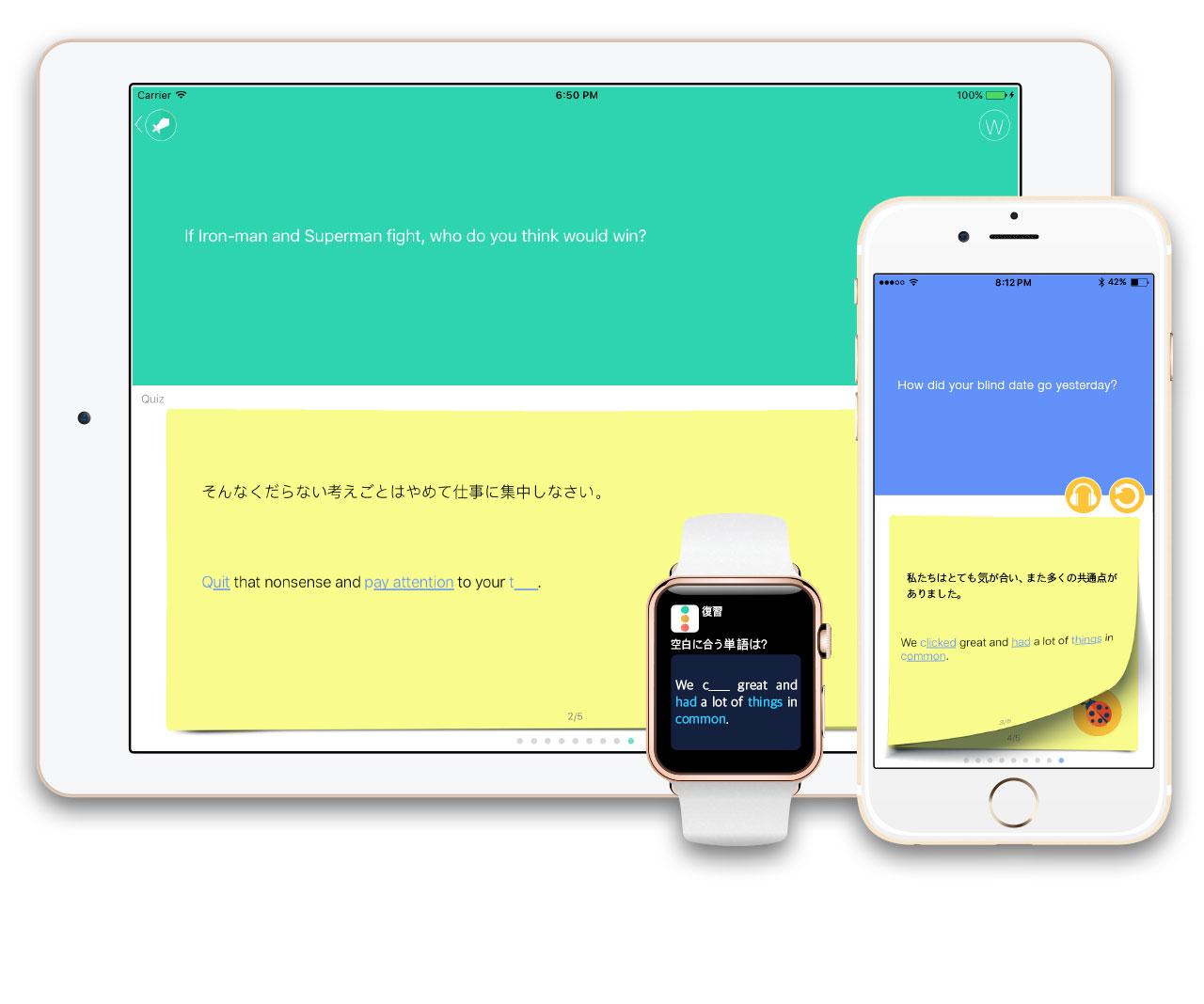 このアプリには通知センターの'ウィジェット'学習や通知クイズ学習、アップルウォッチを利用した学習、またリスニング専用モード、毎日の新規表現プッシュ通知など、多彩な学習方法があります。