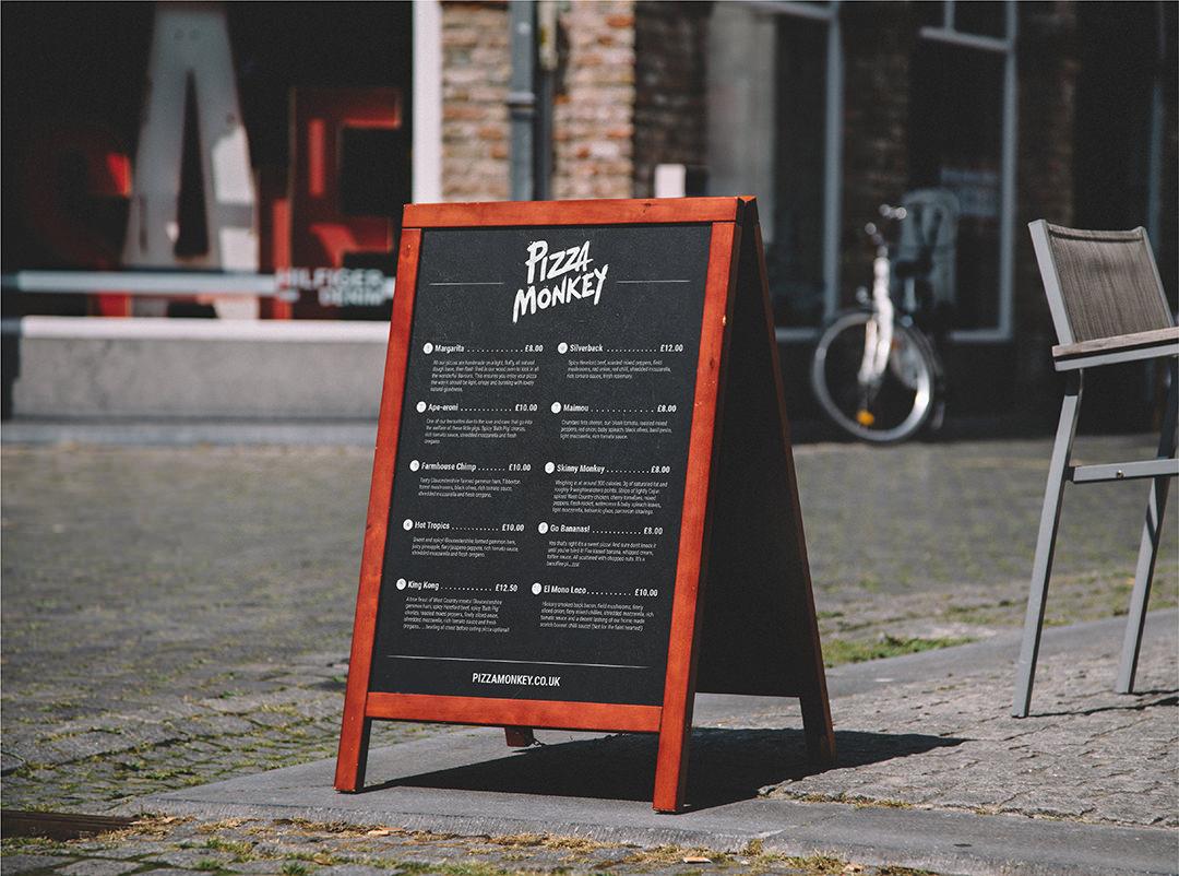 Pizza Monkey a-board menu