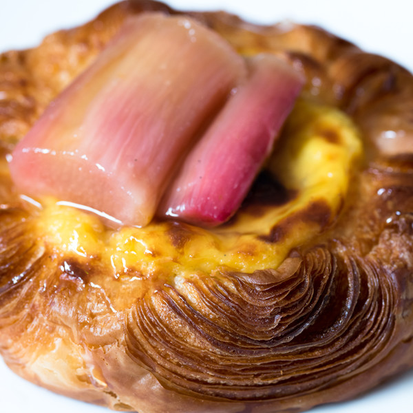 Fruit Danish  With creme patissière and fruits that change with the seasons. Favourites include rhubarb, blackcurrant or poached quince.