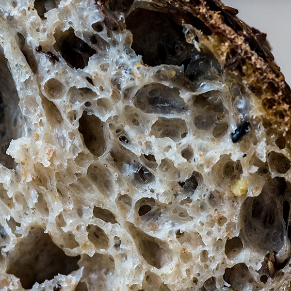 Seeded Loaf  Made using the same process as the white sourdough but with the addition of sesame, linn, pumpkin, sunflower and poppy seeds all of which are fermented for two weeks to amplify their flavour and improve nutritional value.