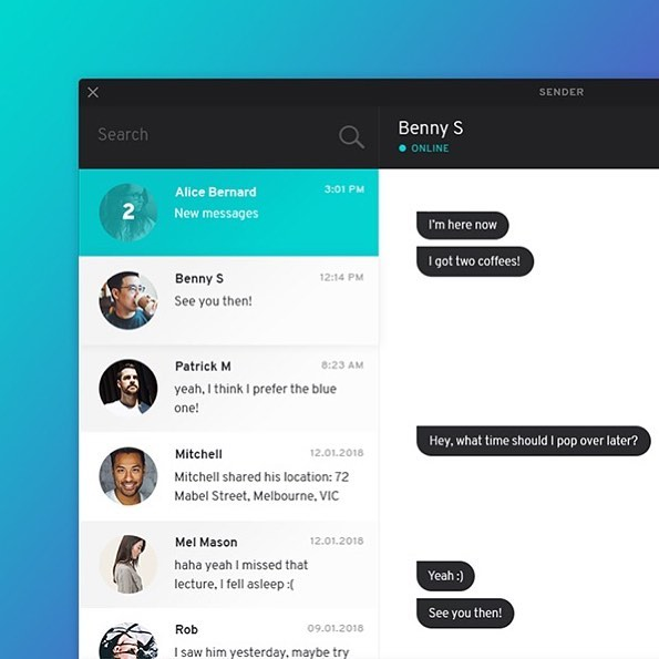 Chat / messenger application UI in progress 💚💙