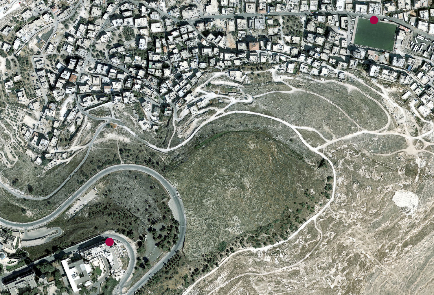 An aerial view on the border between mount Scopus and Issawiya