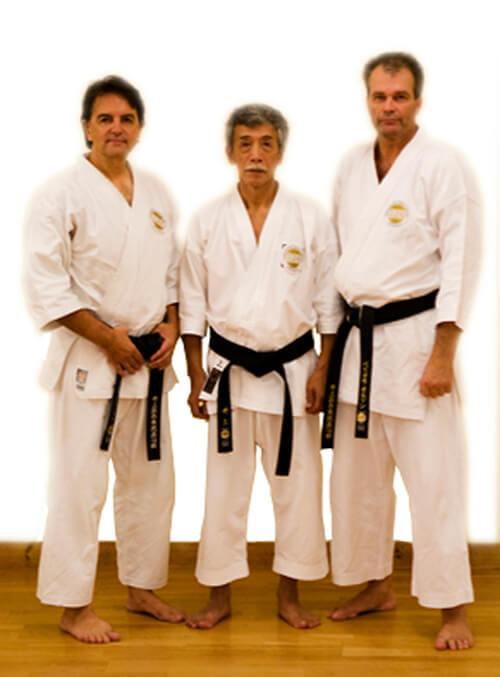 Donald Boström 2 dan,Soke Yoshimi Inoue 8 dan, Sensei Peo Olsson 7 dan. Inoue.HA Shito-Ryu KAI SWEDEN