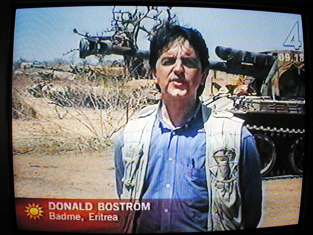 Reporting for Swedish TV4 from the Badme front, Eritrea