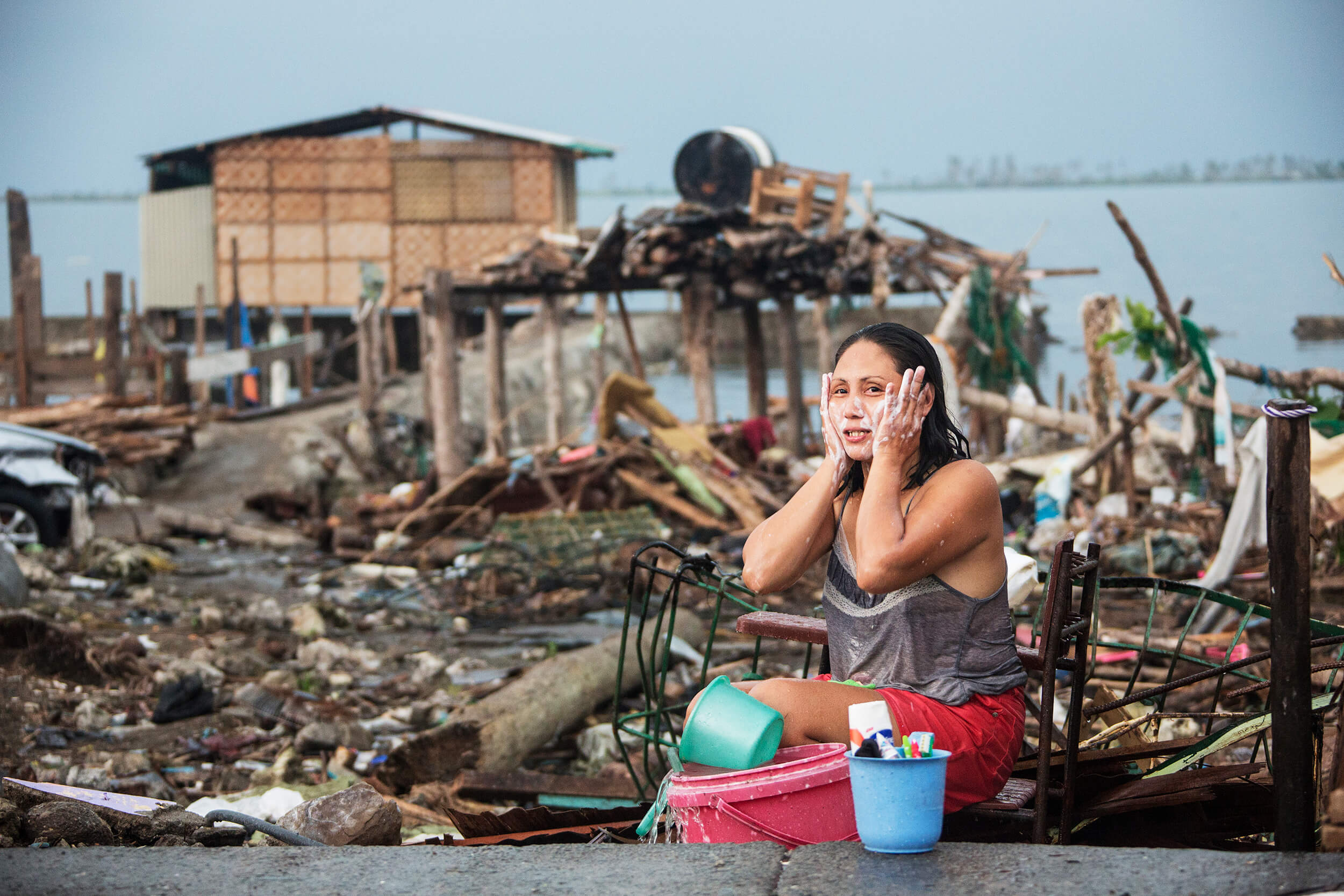 The city of Tacloban after Typhoon Haiyan November 2013.