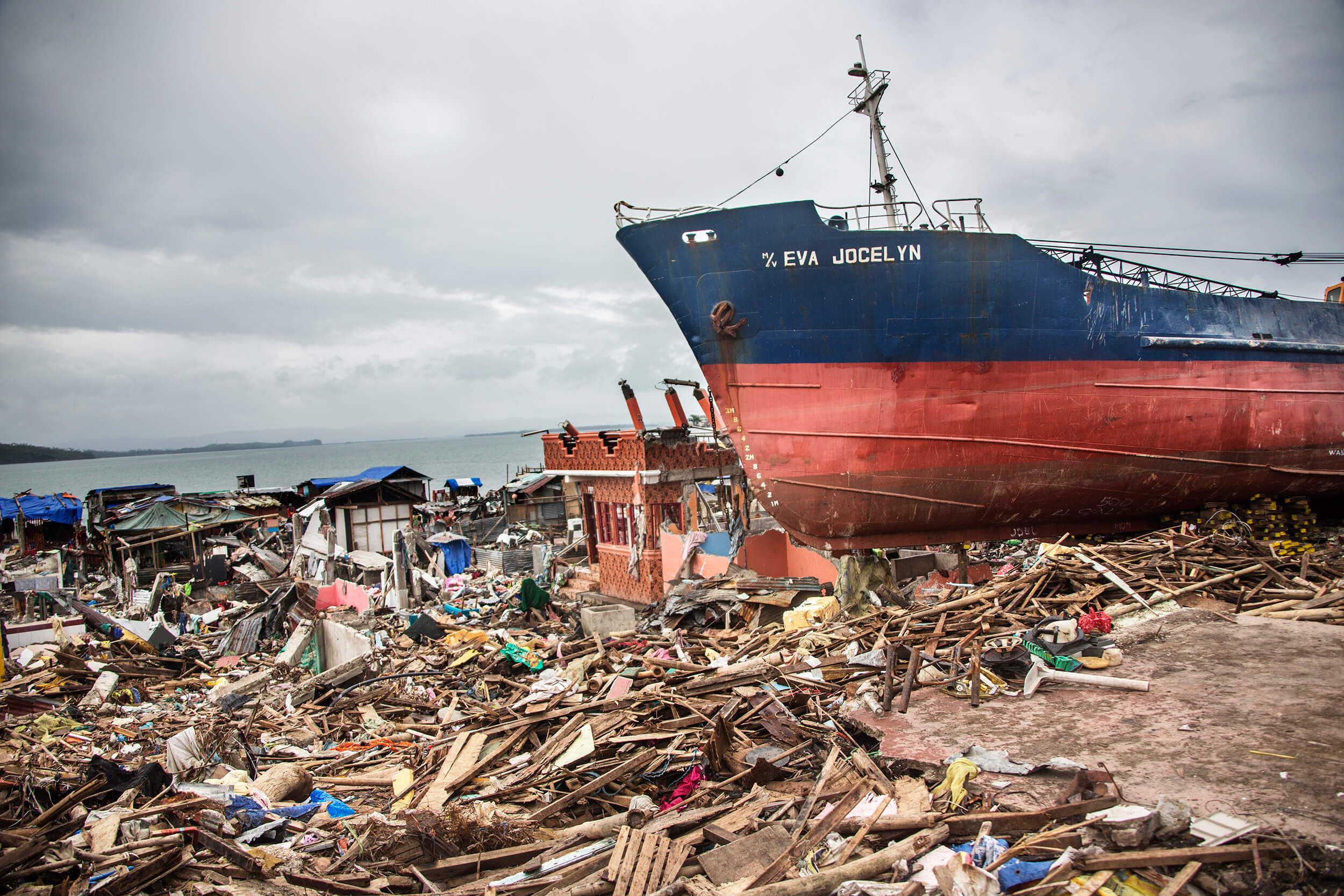 The town of Tacloban on the island of Leyte, after Typhoon Haiyan November 2013.
