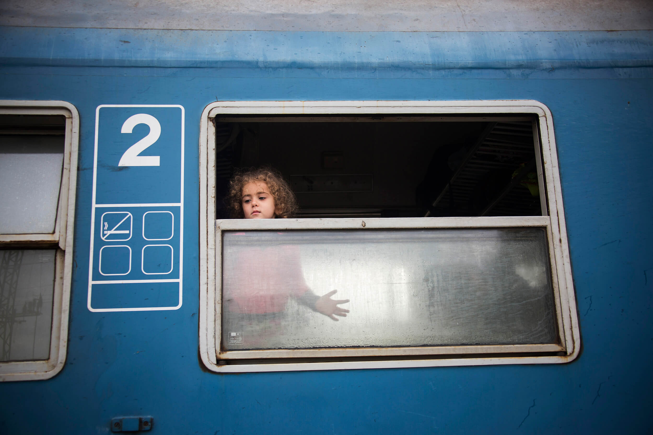 Hungaria. October 2015.Refugees from Syria, Afghanistan and Iraq arrive by train to the Hungarian border station Hegyeshalom, three kilometers walk to the border with Austria, to Nickelsdorf, for further transportation by bus to Vienna.