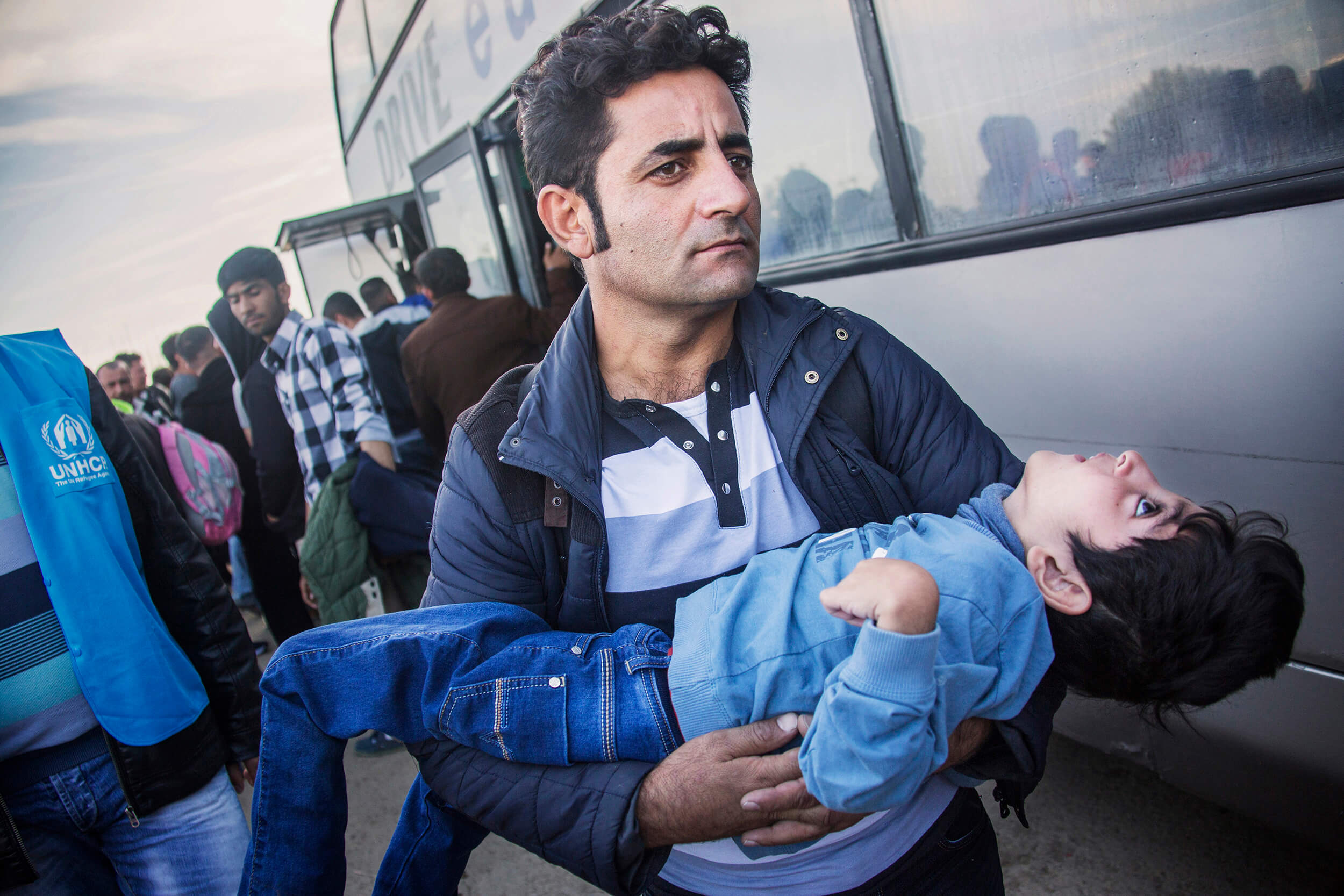 Serbia. October 2015. Refugees arriving by bus to Serbia at the border with Croatia. In the beginning of the crisis mostly young men fled. Now everyone. Old, young, sick, disabled, grandparents, whole families with pregnant women and babies.