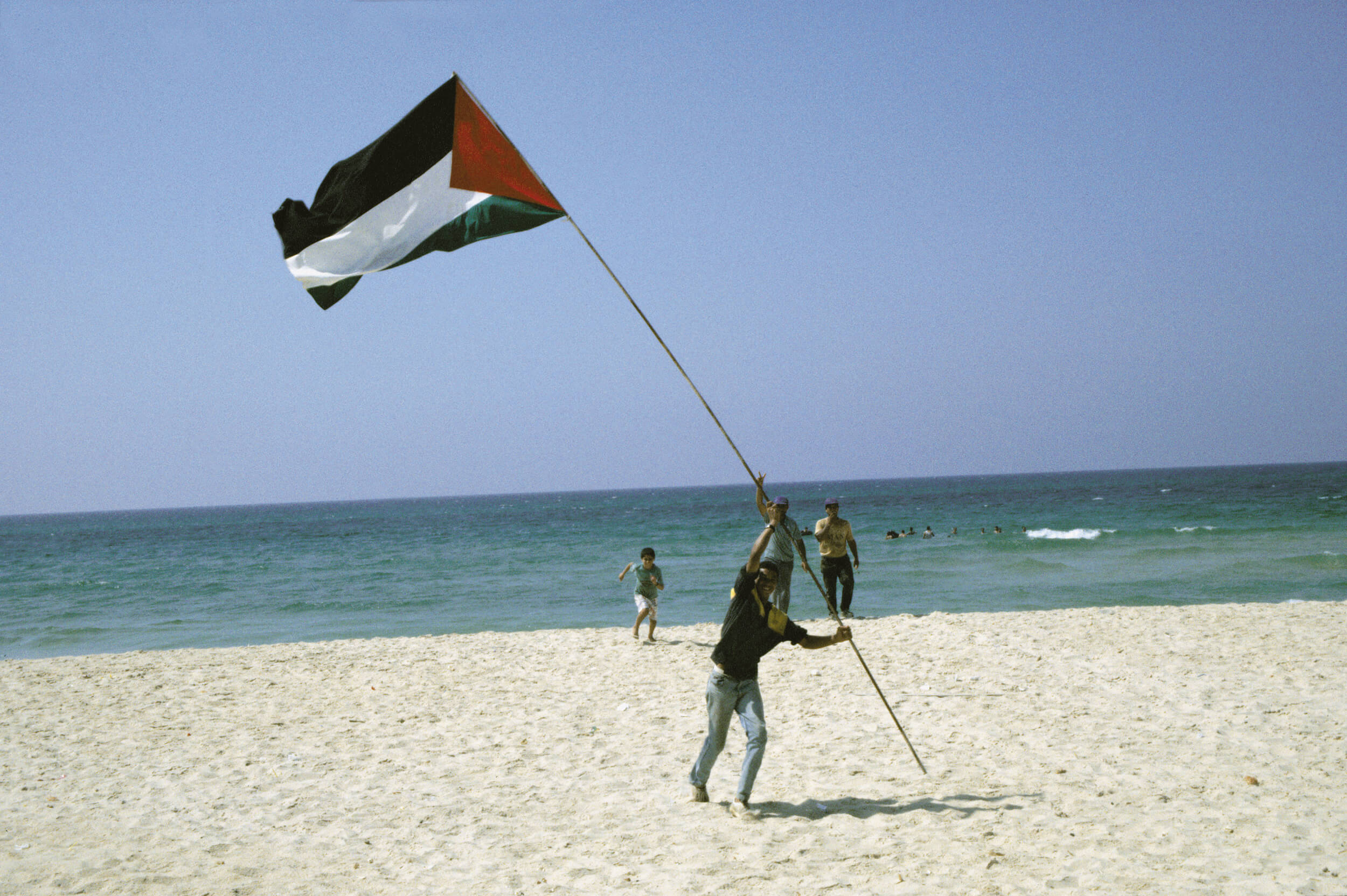 Gaza. Palestinians celebrate the Oslo agreement on September 13, 1993.