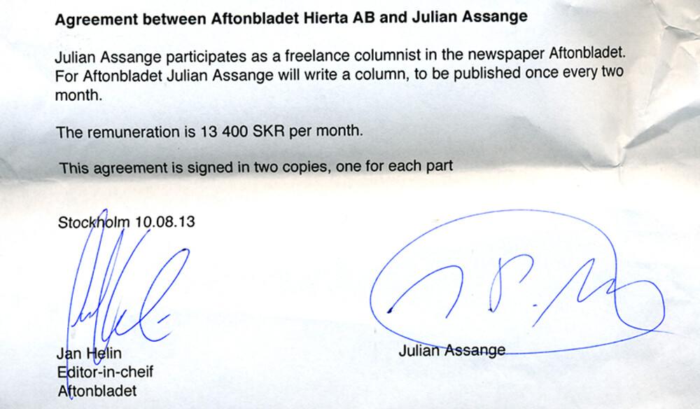 Avtalet mellan Aftonbladet och Julian Assange.