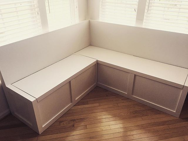 Installed this banquette today... complete with tons of interior storage and a comfortable backrest and hey look it's white. #woodworking #handmade #banquette #kitchen #storage #cabinetry