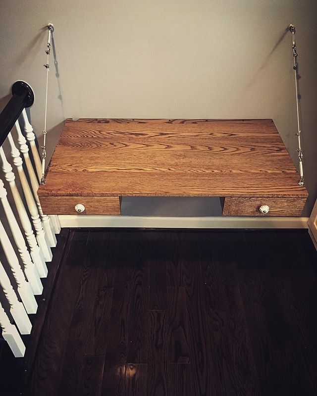 Cantilevered laptop desk installed! #woodworking #carpentry #oak #desk #cantilever