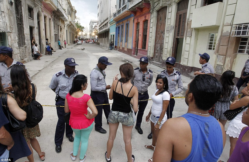 Cubans kept blocks away from the location of the fashion show at el Paseo del Prado (DailyMail UK)