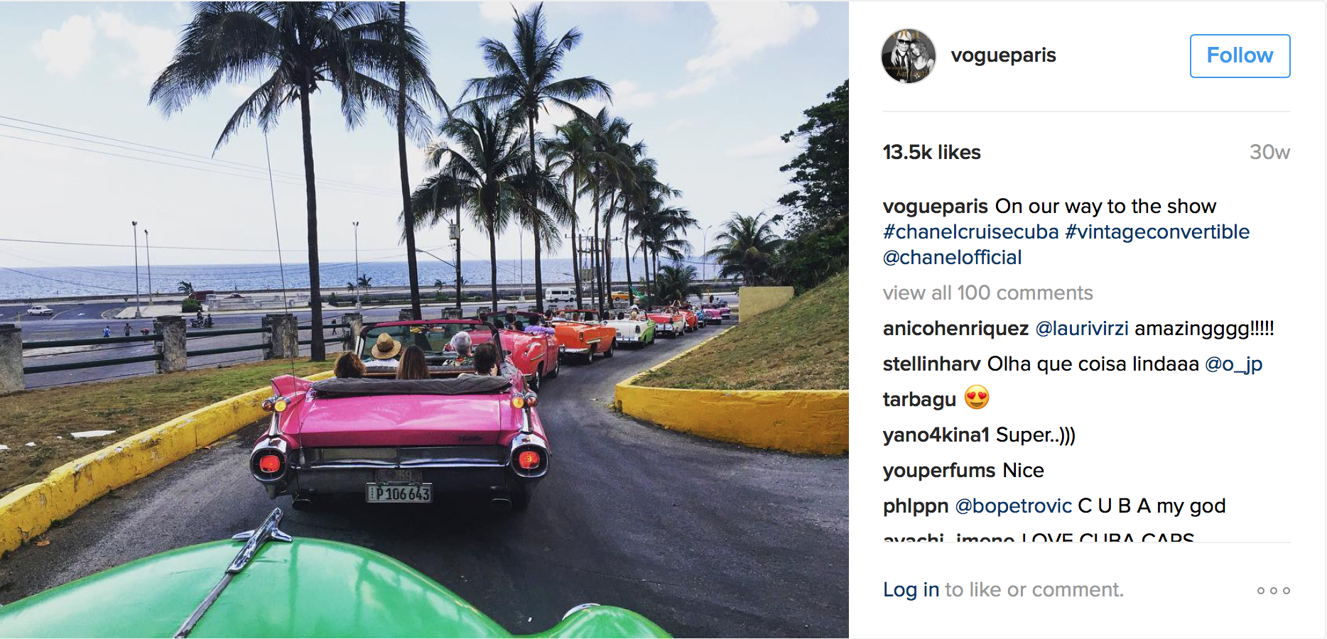 Fashion journalists driving around Havana in vintage 1950s cars